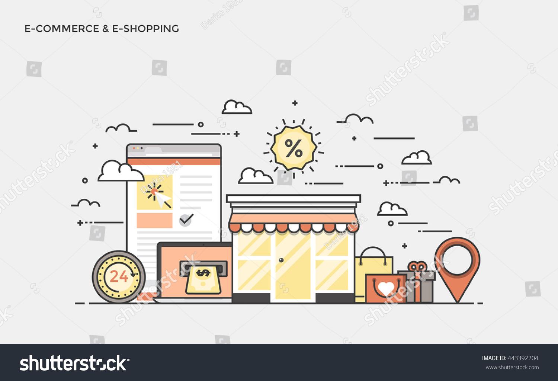 Thin line flat design banner ecommerce stock vector for E commerce mobili