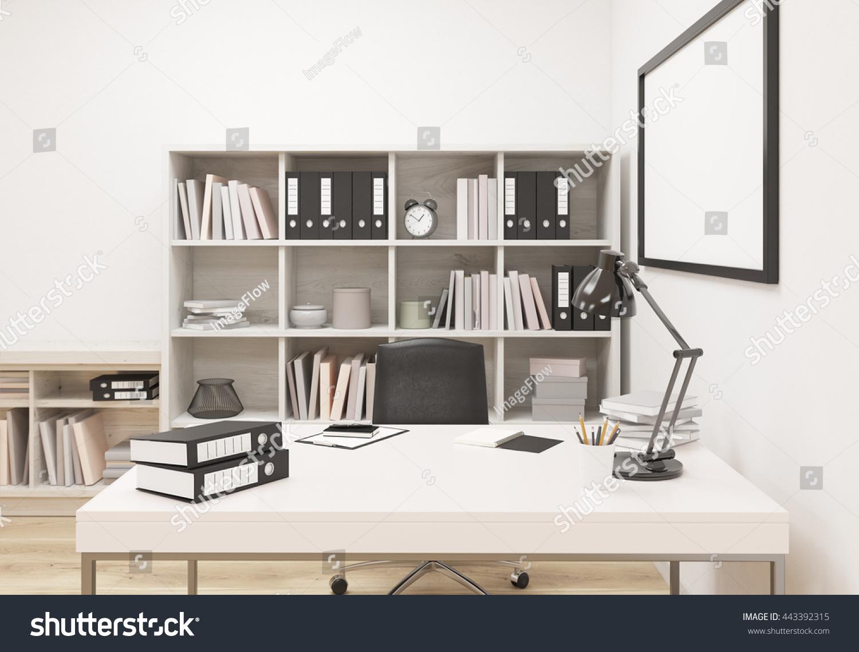 Creative modern office interior with workplace bookshelf