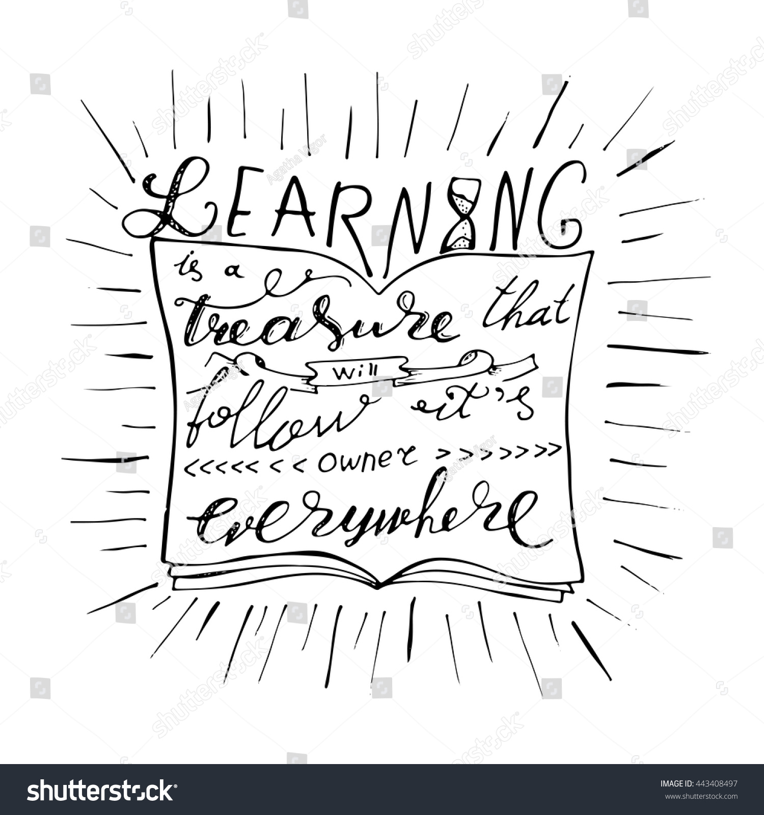 Poster design drawing - Vector Card Or Poster Design With Unique Typography Hand Lettering Phrase Learning Is A