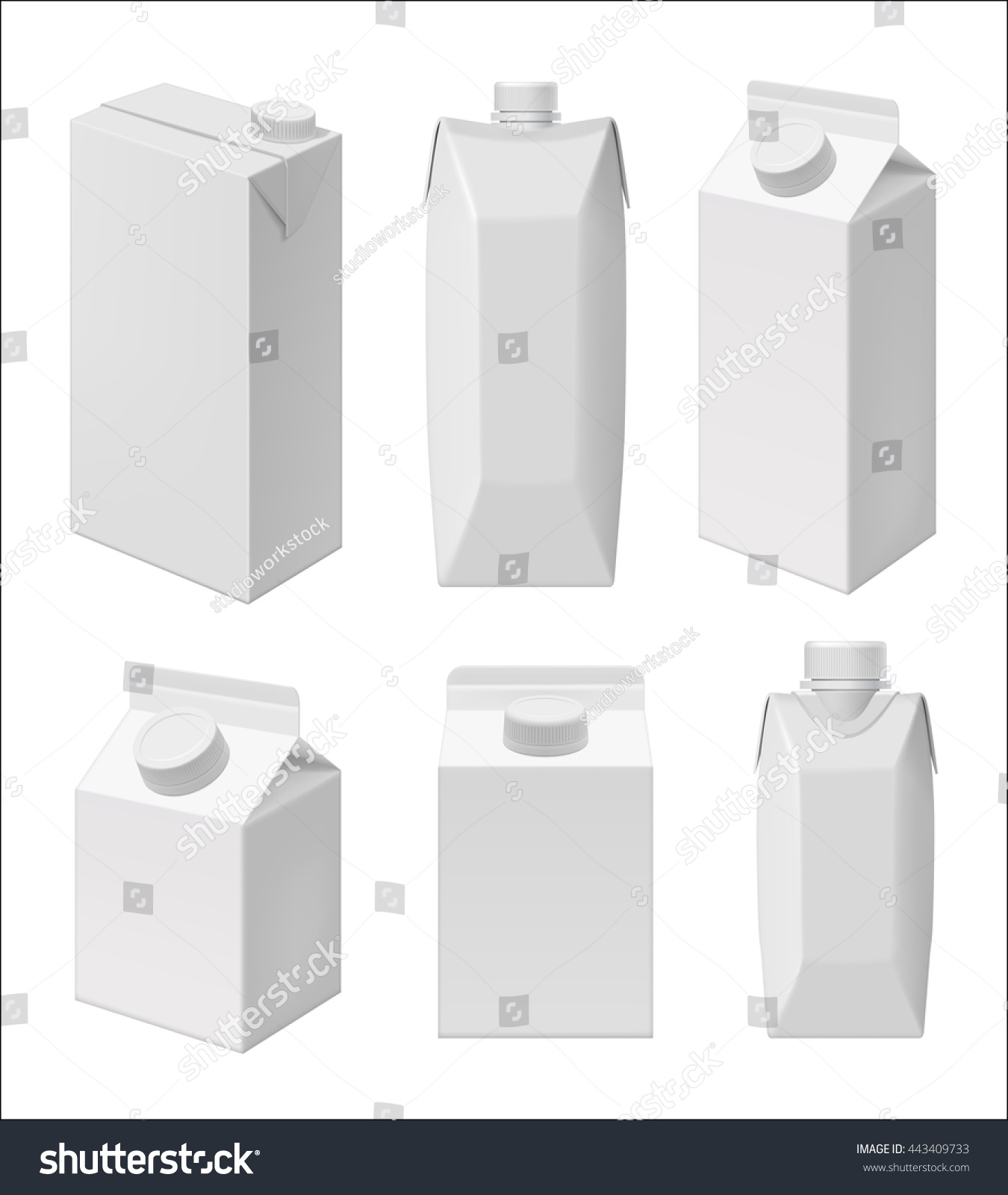 Carton Milk Or Juice Pack Template Blank Packaging Isolated On White Background Mock Up