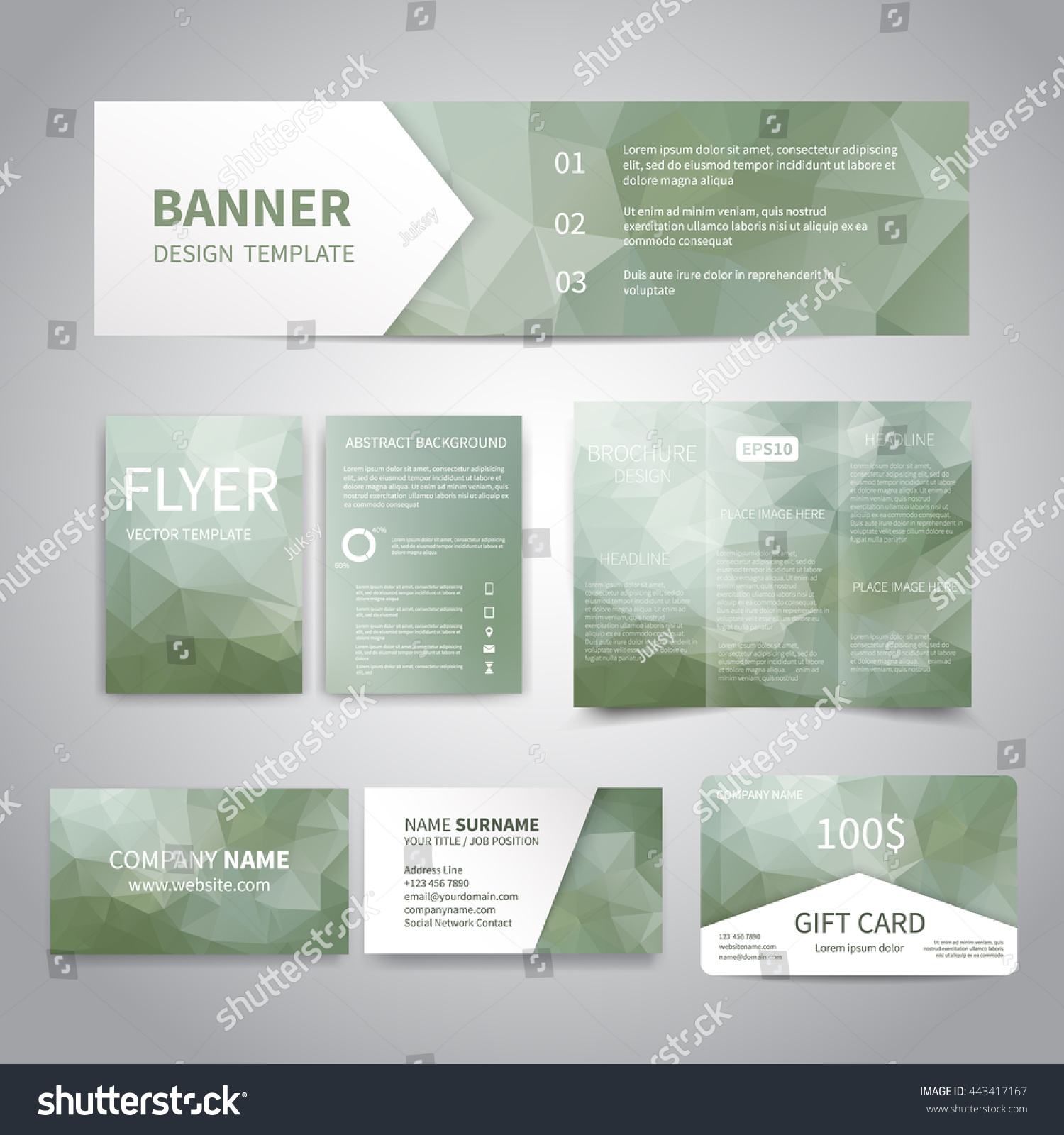 Banner flyers brochure business cards gift stock vector 443417167 banner flyers brochure business cards gift card design templates set with geometric reheart Gallery