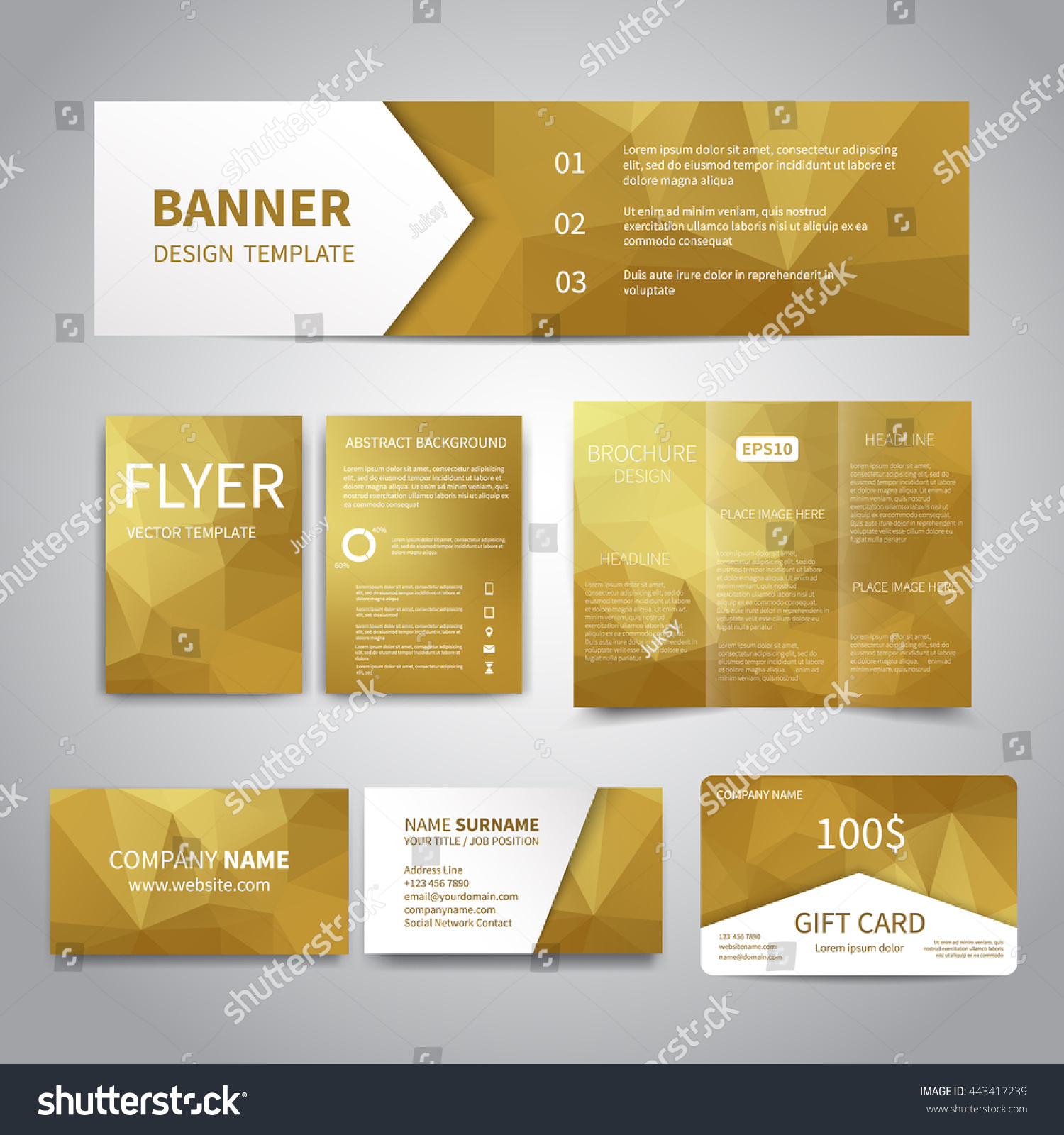 banner flyers brochure business cards gift stock vector 443417239 banner flyers brochure business cards gift card design templates set geometric