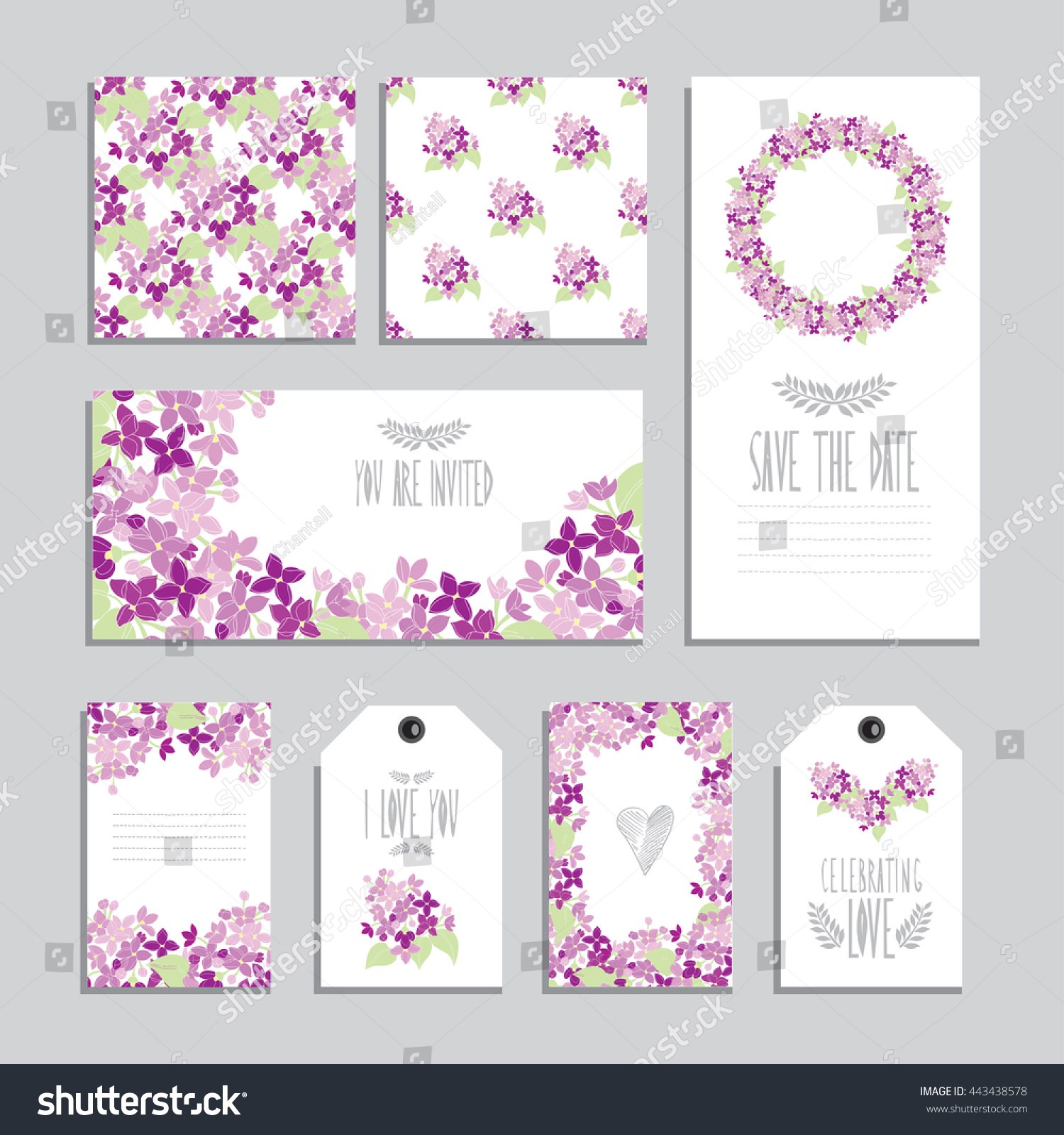 elegant cards gift tags lilac floral stock vector royalty free