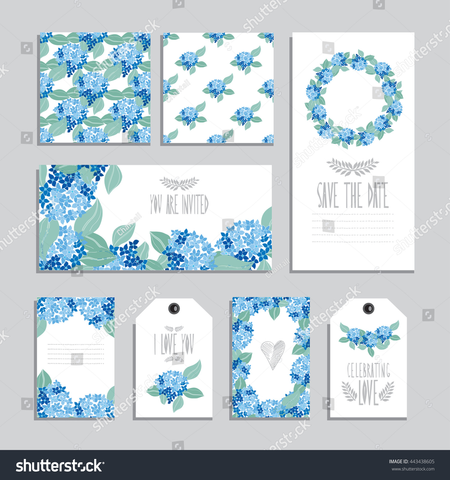 elegant cards gift tags hydrangea floral stock vector royalty free