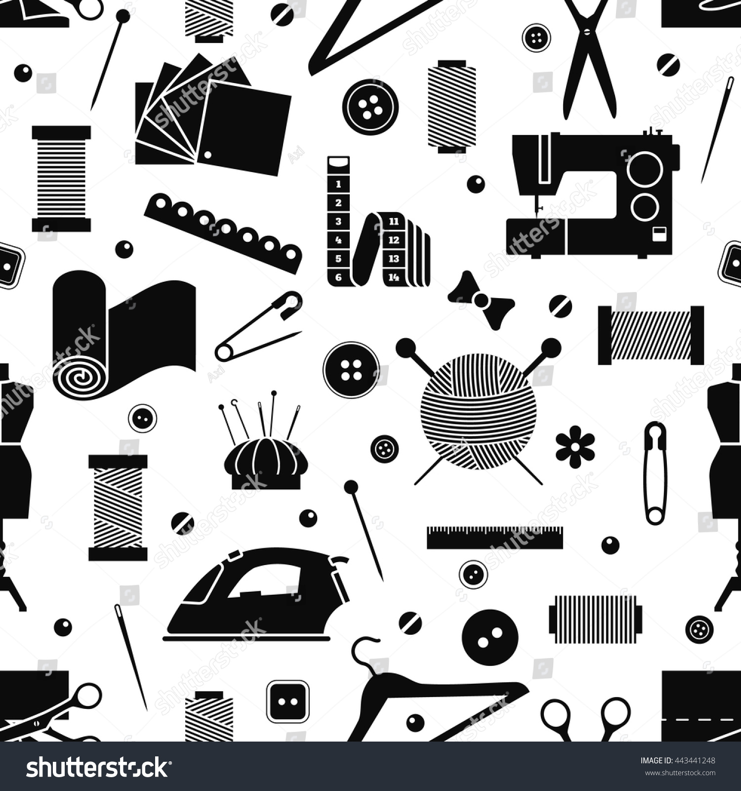 Vector Sewing Seamless Pattern Tailor Craft Stock Royalty Machine Diagram Car Interior Design Objects Isolated Atelier Equipment Illustration Seamstress