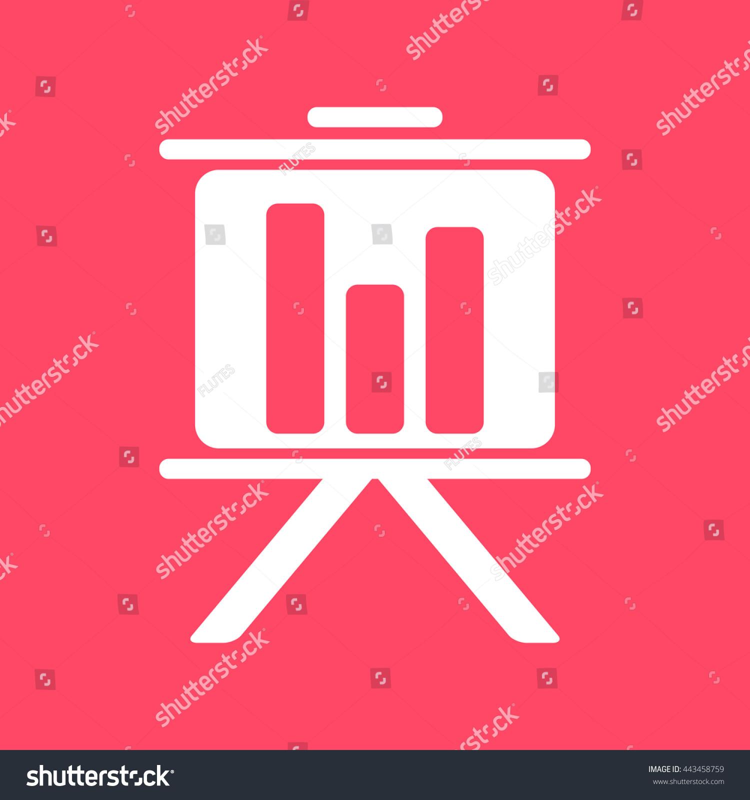 Presentation Chart White Icon On Magenta Stock Vector 443458759
