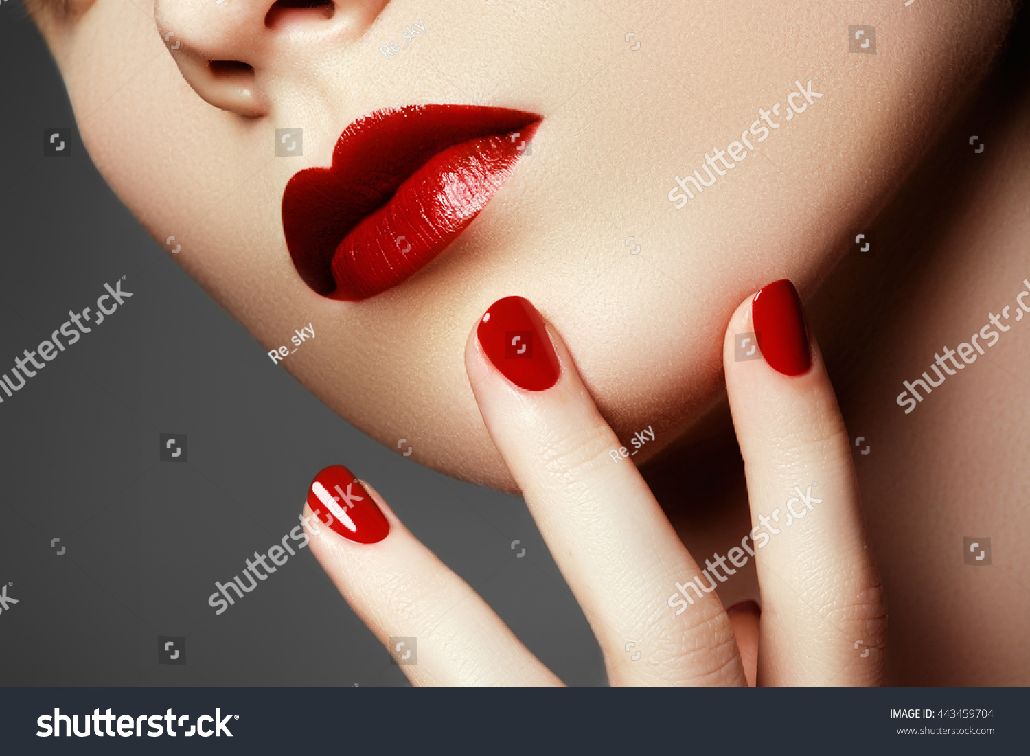 Beauty Fashion Model Face Manicured Hand Stock Photo & Image ...