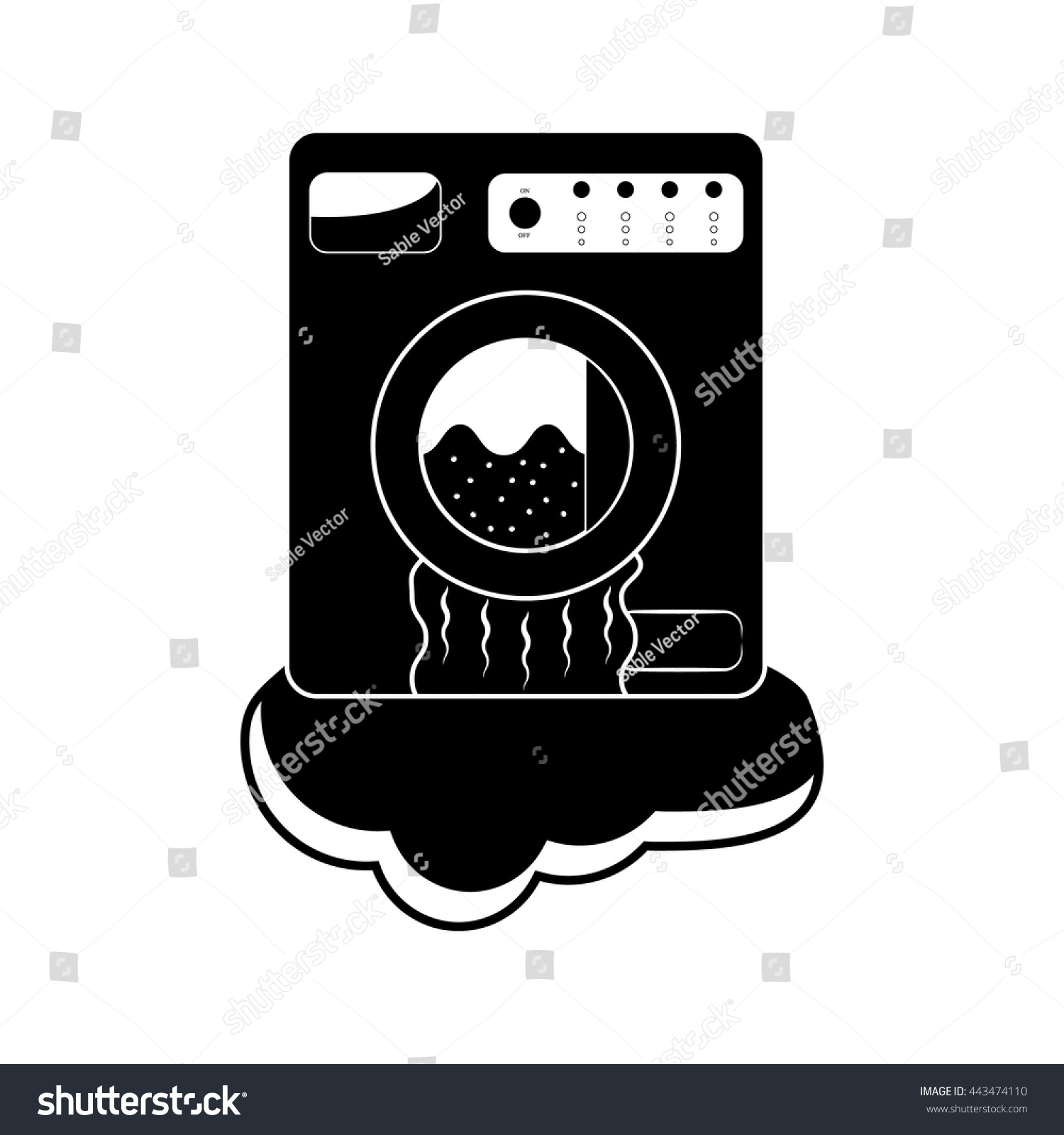 Broken Washing Machine Vector Icon Flat Stock Vector ...