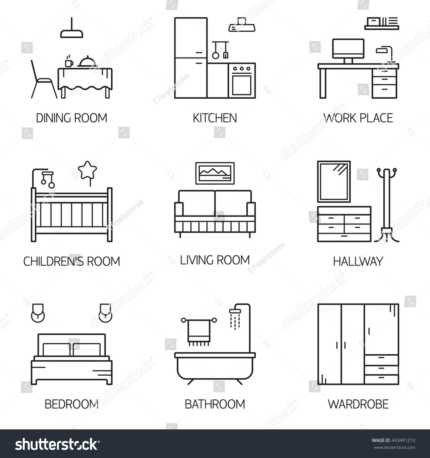 Set line vector interior design room stock vector for Types of interior design