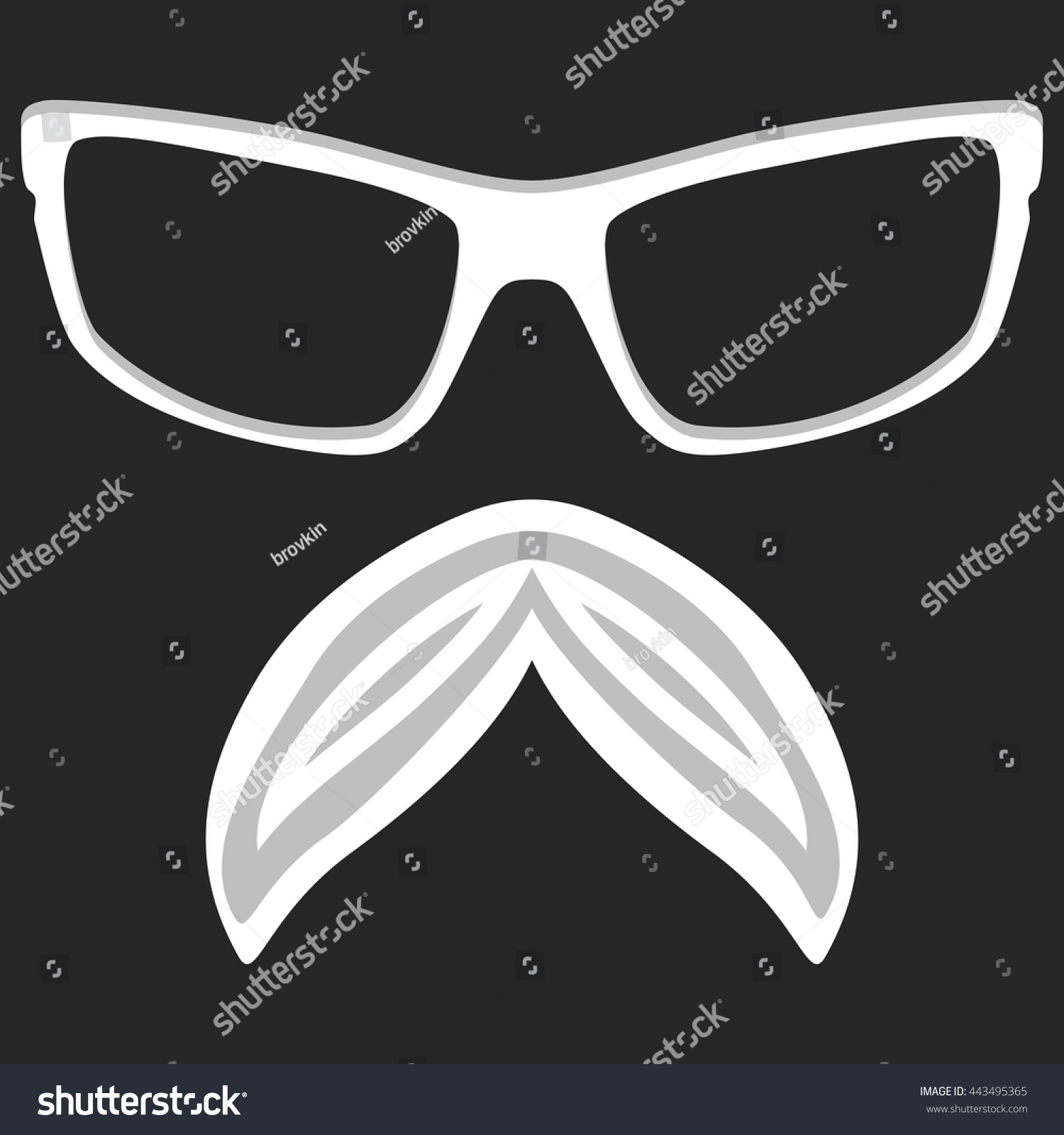 Hipster Nerd Glasses Stylish Mustache On Stock Vector Royalty Free