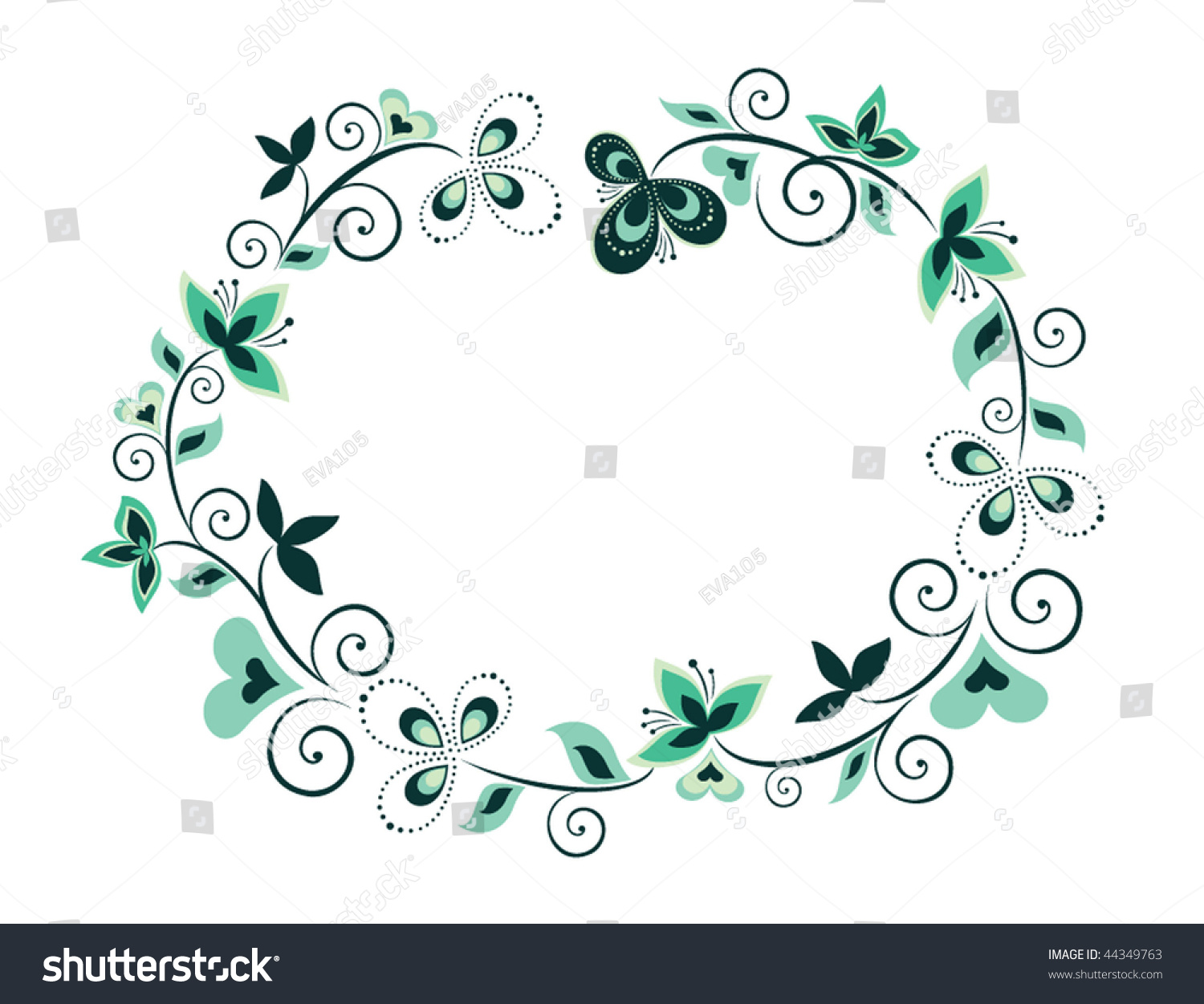 Decorative Black Flower Border Stock Image: Decorative Floral Border Stock Vector 44349763