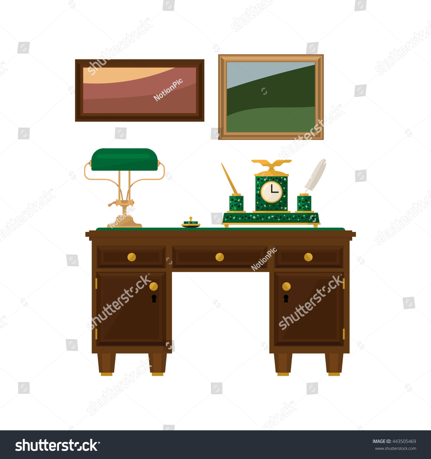 wooden home office desk. Antique Wooden Home Office Desk Flat Bright Color Vector Illustration On White Background