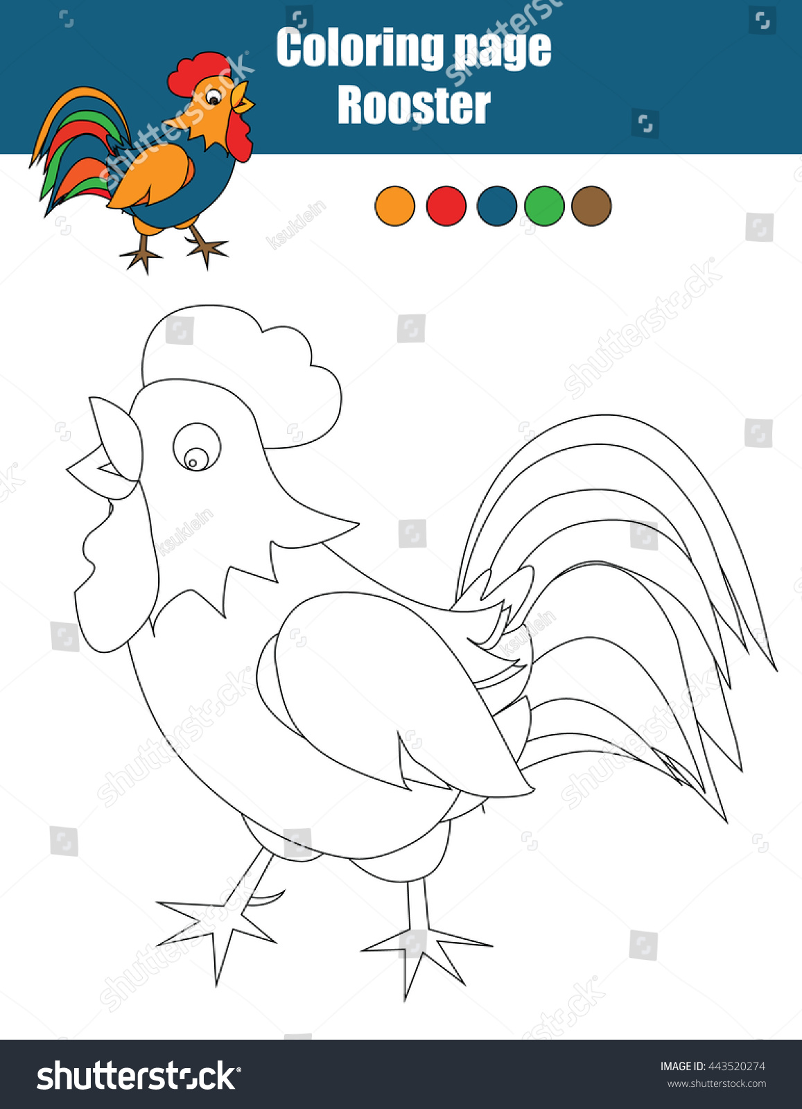 Childrens educational coloring activity book - Coloring Page With Cock Color The Rooster Drawing Activity Educational Game For Kids