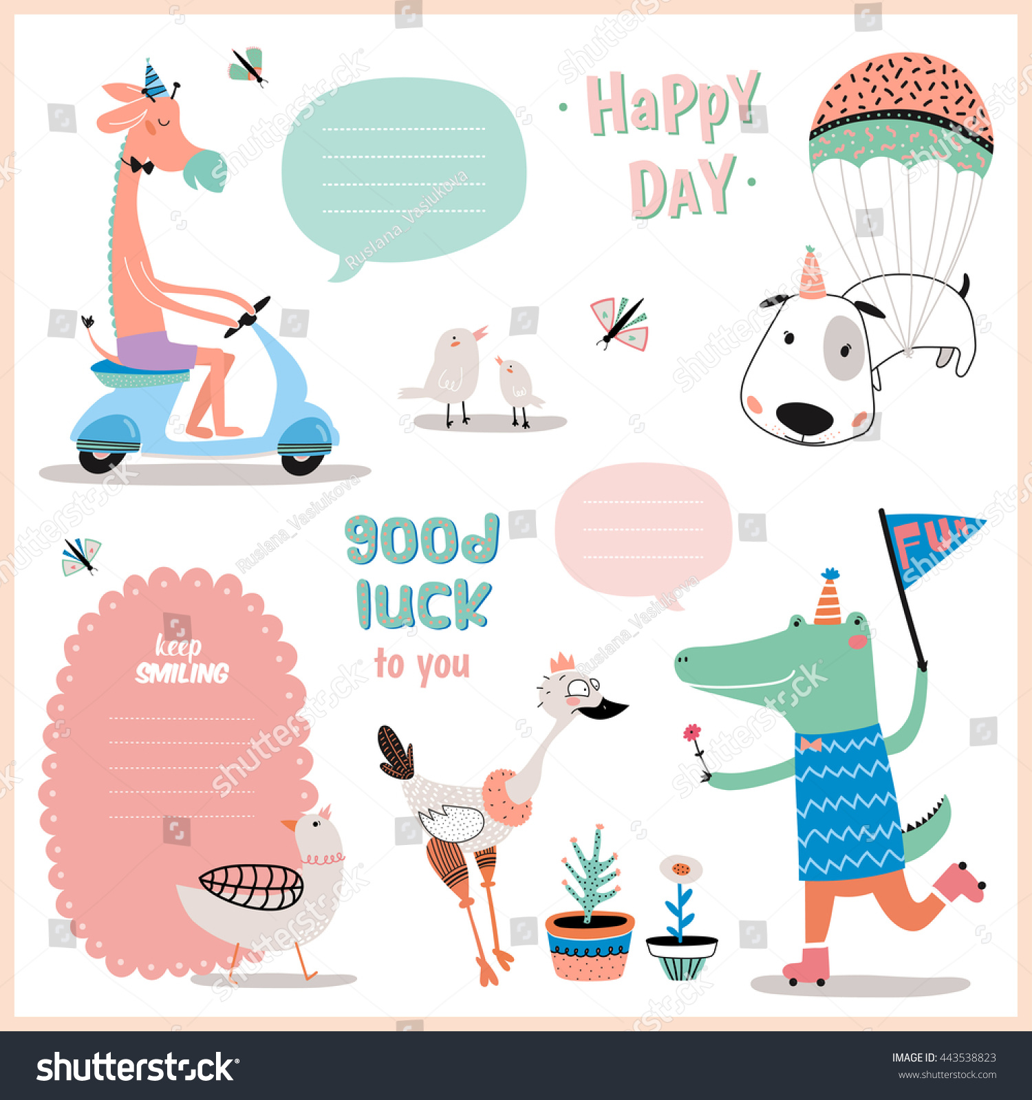 set birthday cards gift tags label stock vector royalty free