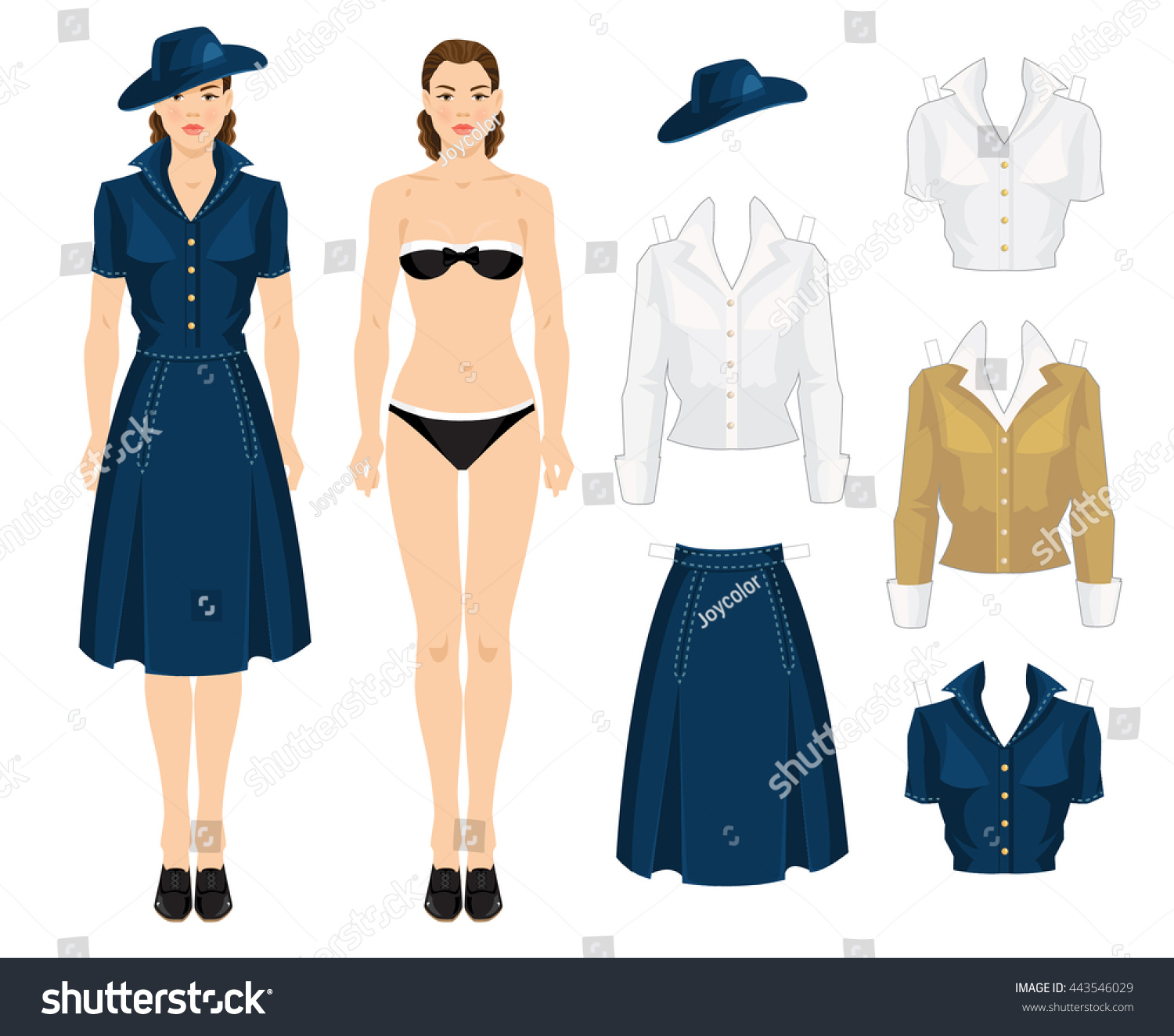 Paper Doll Clothes Vintage Forties Style People Beauty Fashion