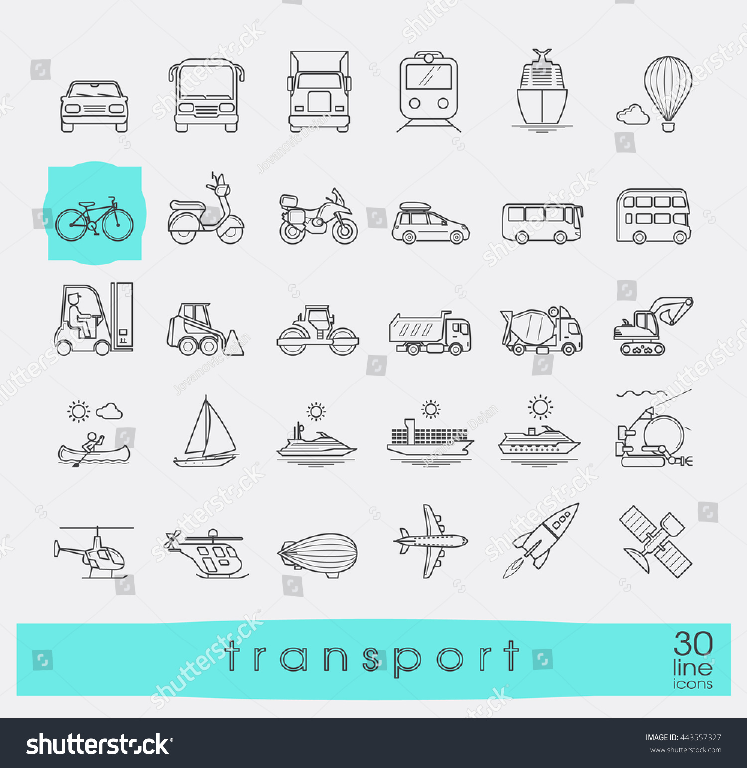 Set transportation icons various means transportation for Different types of water lines