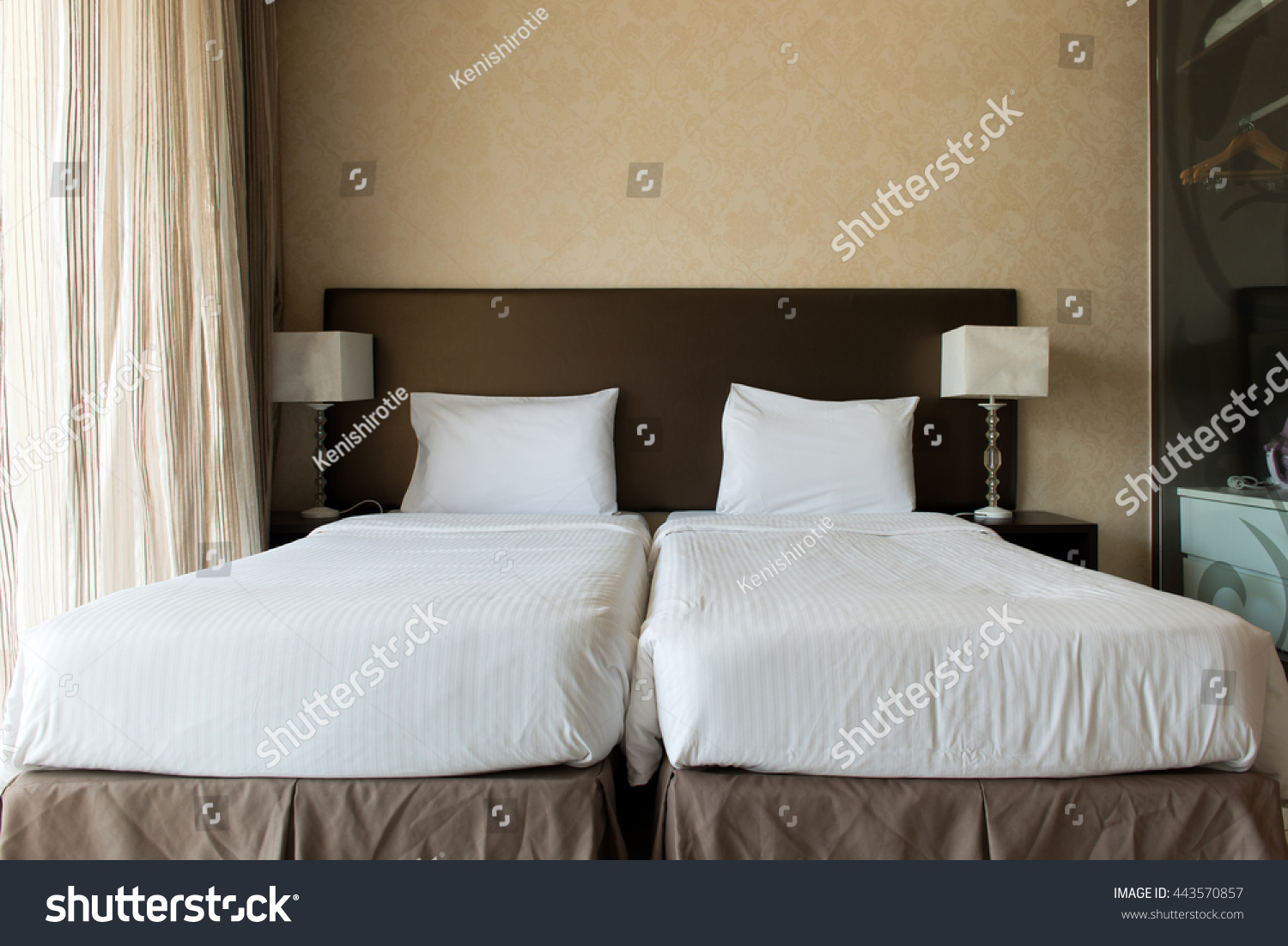 Interior Hotel Bedroom Twin Beds Putting Stock Photo (Royalty Free ...