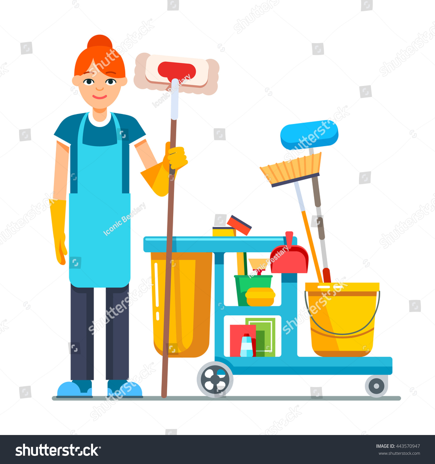 Professional Cleaner Woman Janitor Cart Full Stock Vector ...