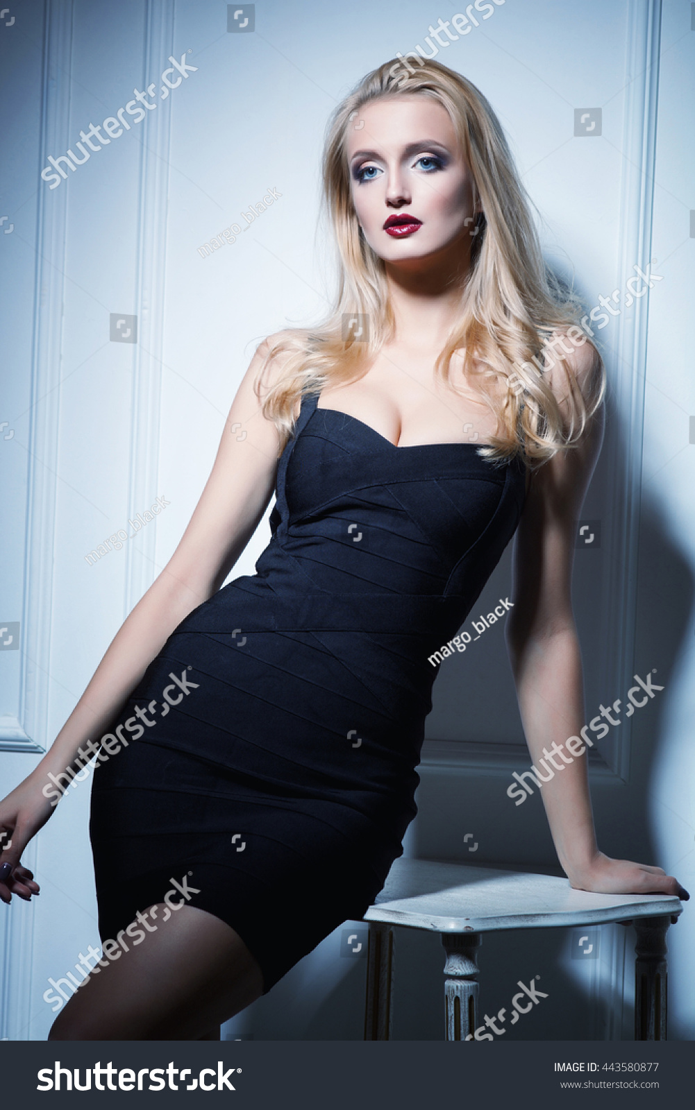 sexy blonde woman fashion makeup short stock photo (edit now
