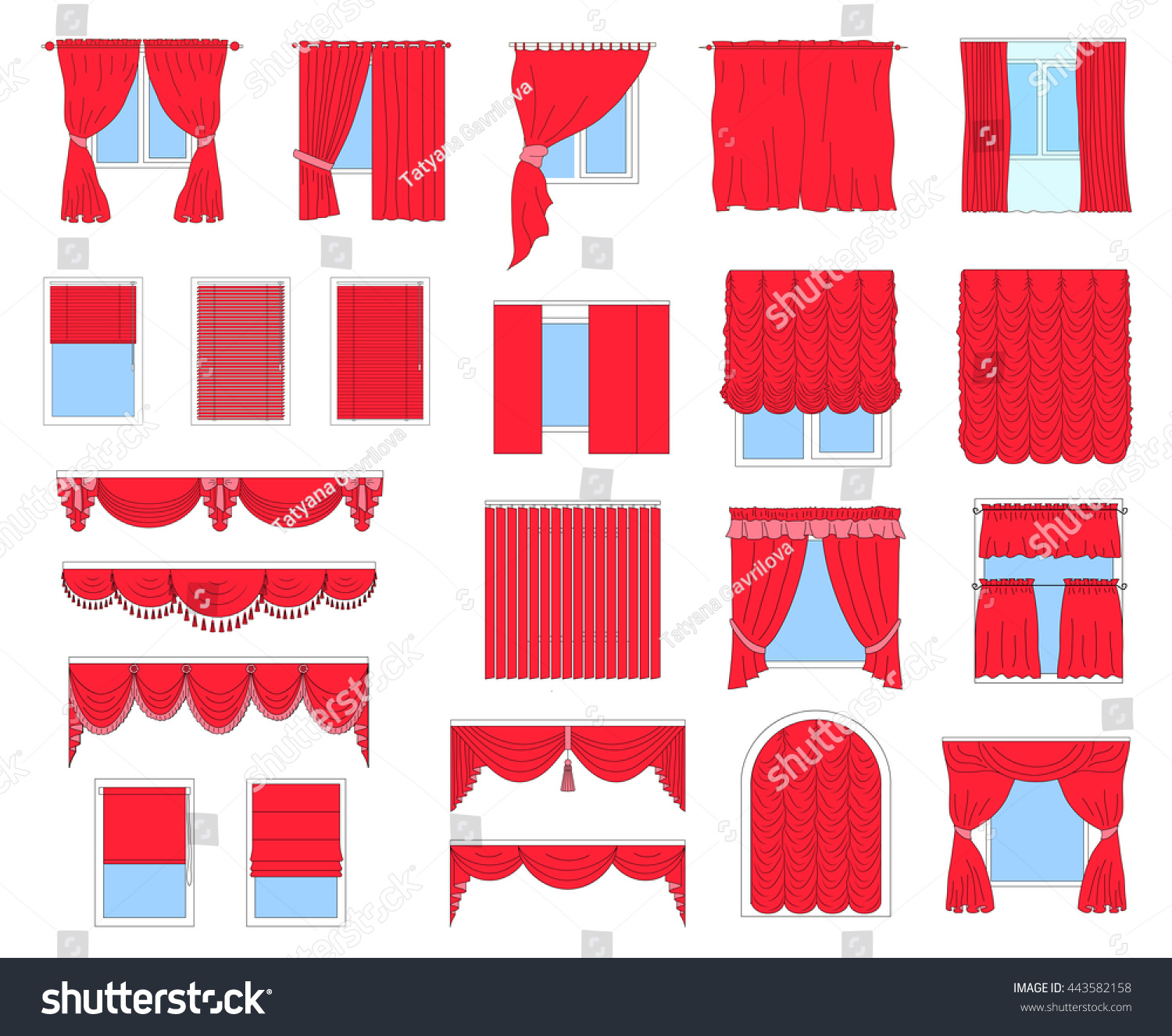 Collection of different types of curtains classic horizontal and vertical blinds Roman draped tulle Big set of curtains on the windows isolated on white background Stock Vector illustration