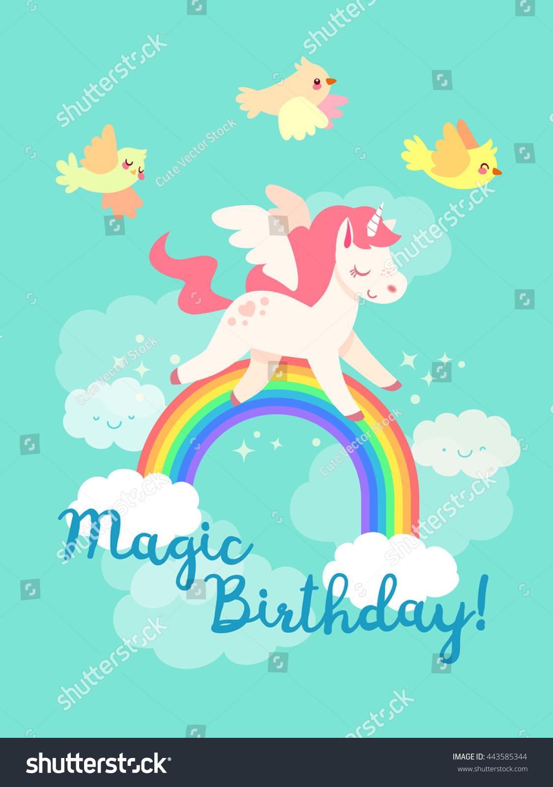 Fairytale Happy Birthday Card Flying Unicorn Stock Vector ...