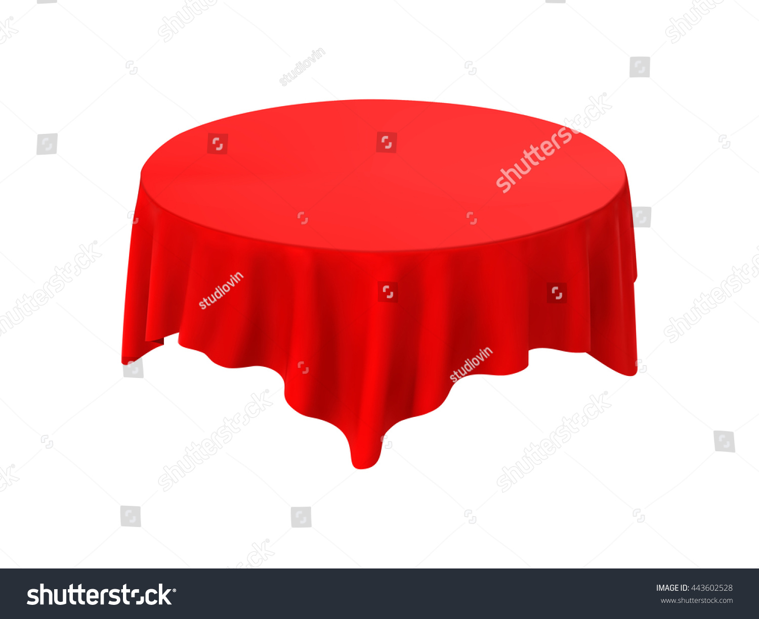 Attractive Red Round Tablecloth Table On A White Background
