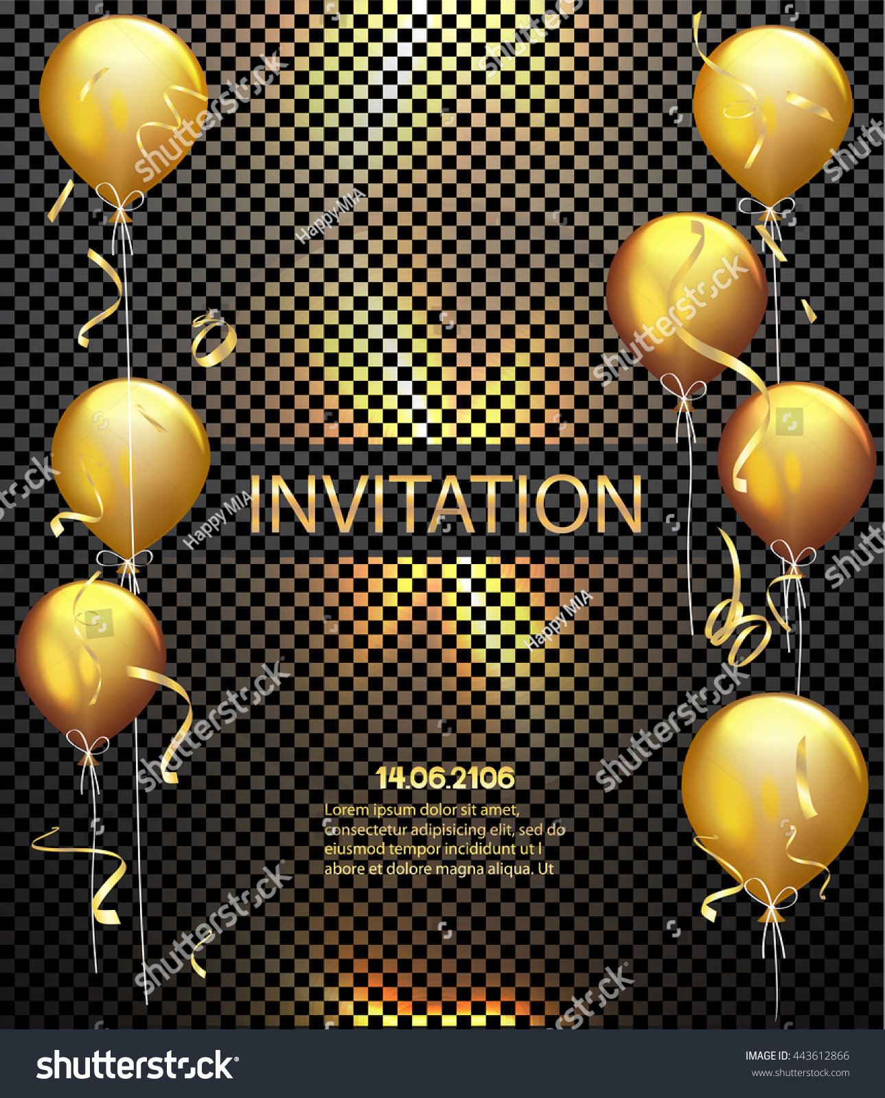 Invitation Card Party Background Gold Shiny Stock Vector (2018 ...