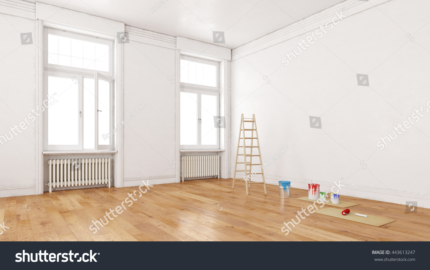 Dirty Walls Room During Renovation Ladder Stock Illustration ...