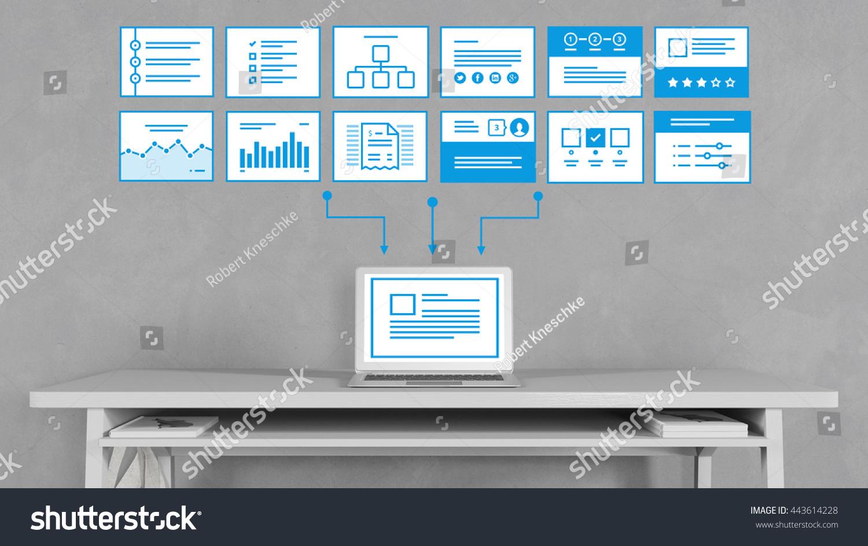 Computer Seo Process Analysis Website Templates Stock Illustration ...