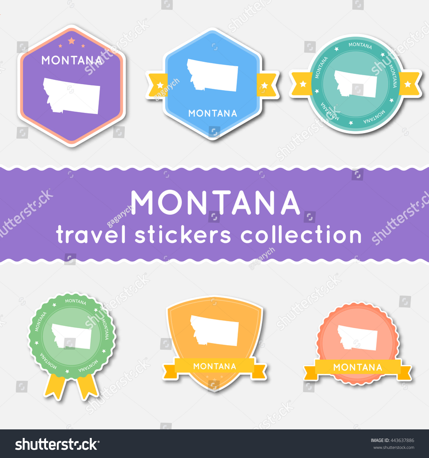 Montana Travel Stickers Collection Big Set Of Stickers With Us – Montana Travel Map