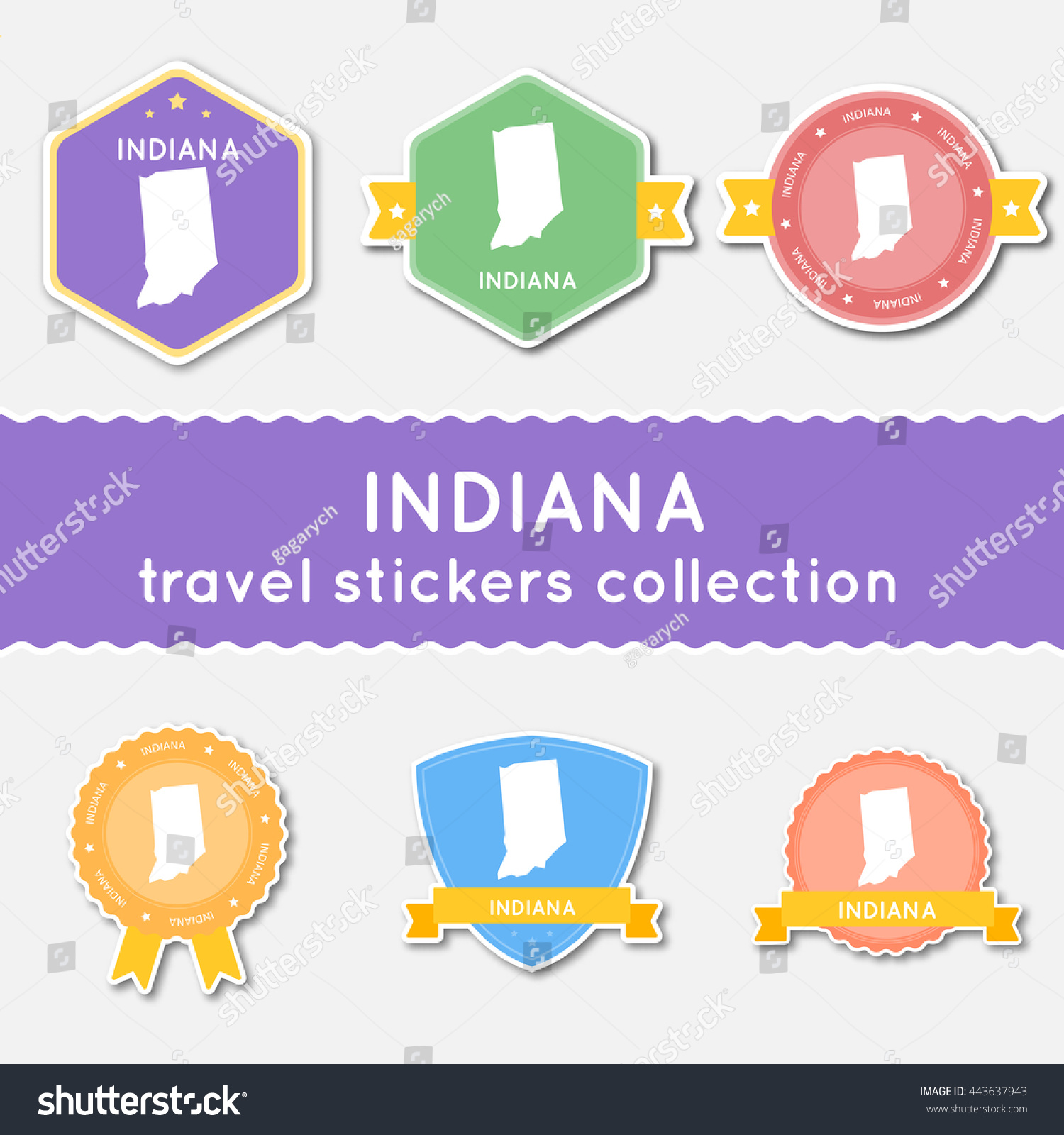 Indiana Travel Stickers Collection Big Set Of Stickers With Us – Indiana Travel Map