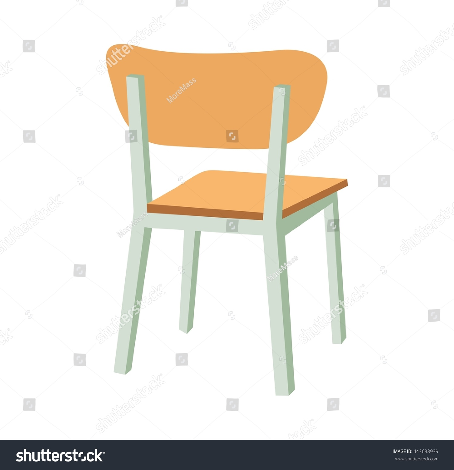 School Chair Vector Flat Color Illustration Stock Vector
