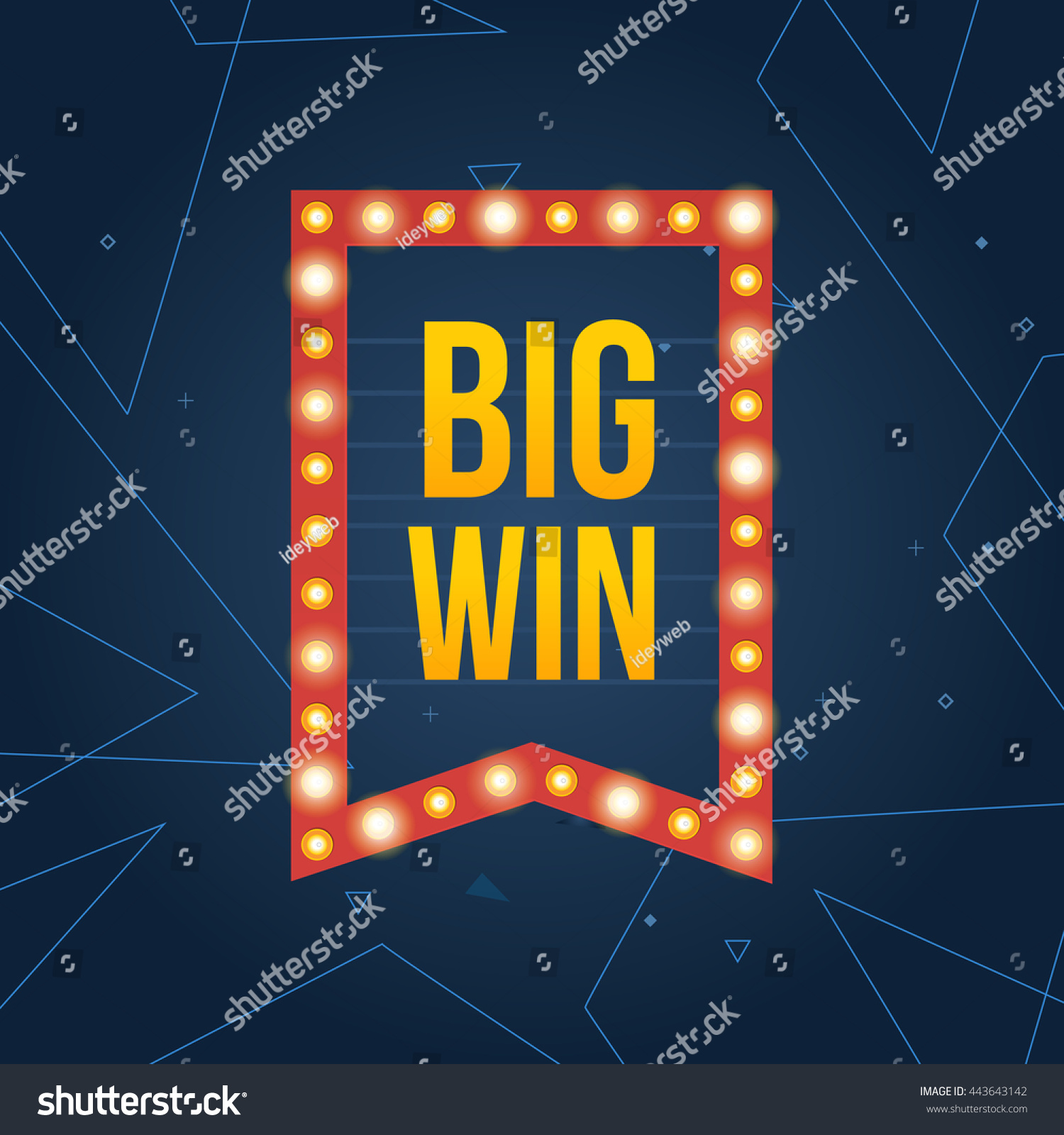 Design large banner in illustrator - Big Win Sign With Lamp Background For Online Casino Poker Roulette Slot Machines