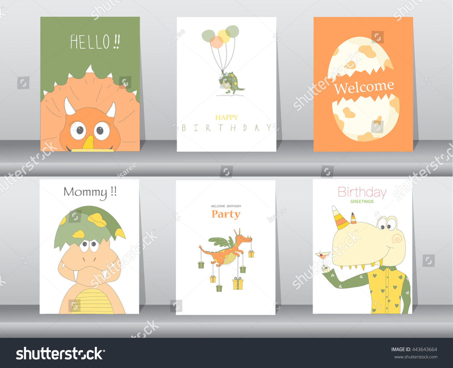 Set of birthday cards poster template greeting cards animals dinosaurs eggs Vector illustrations