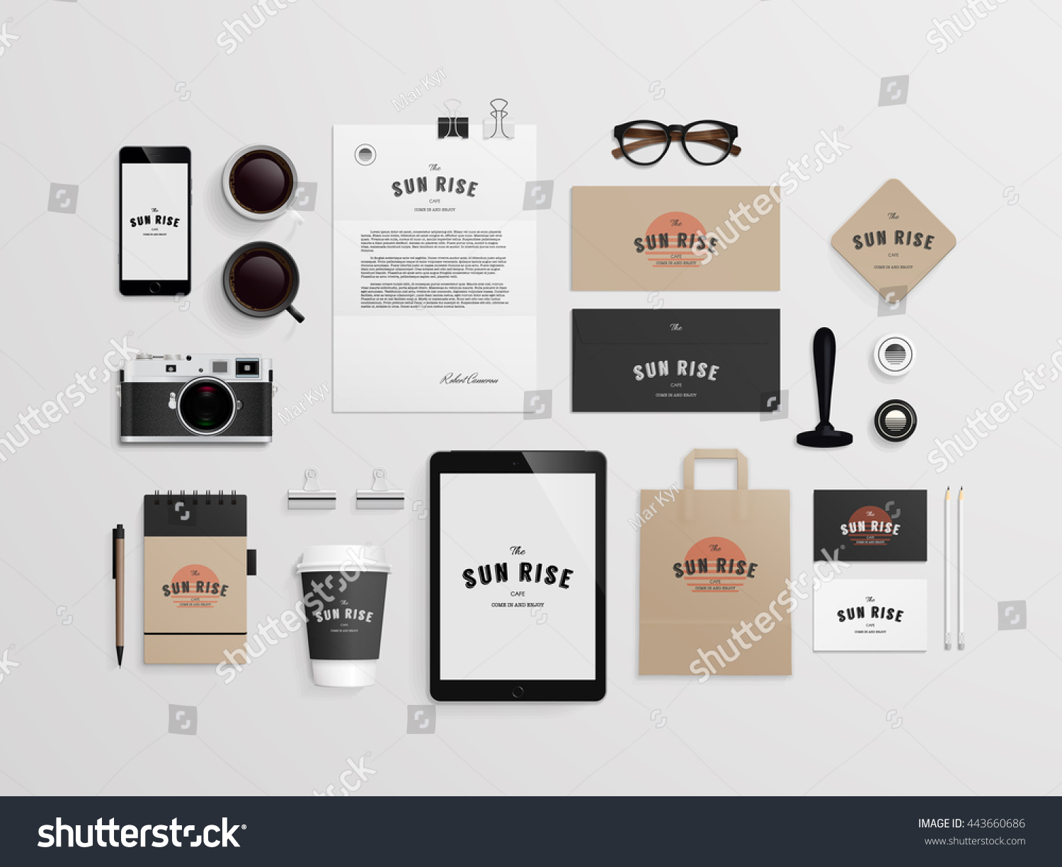 Free Sample Study Set: Corporate Identity Template Set Logo Sample Stock Vector