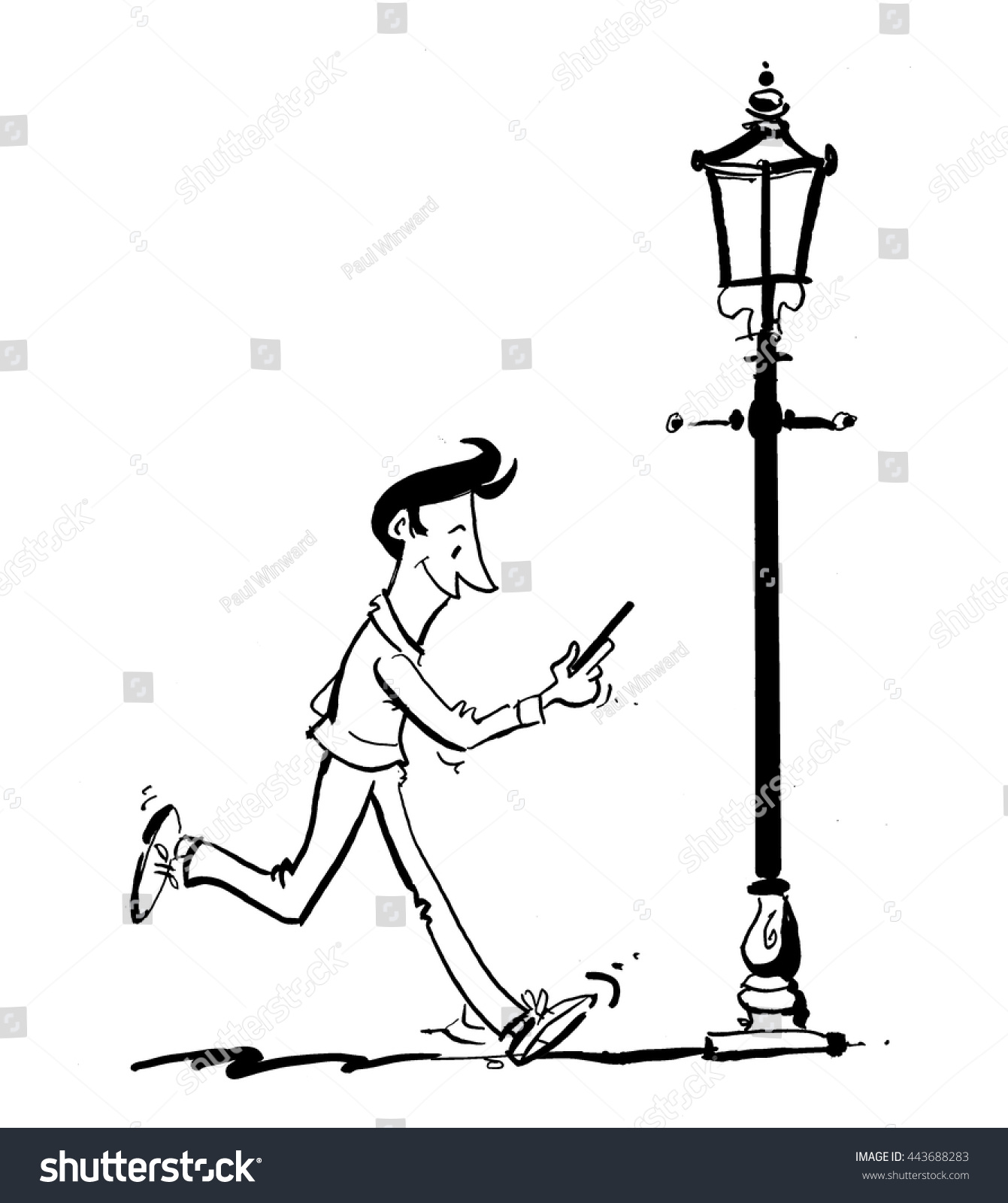 Cartoon Line Drawing Man On Phone Stock Vector 443688283 ...
