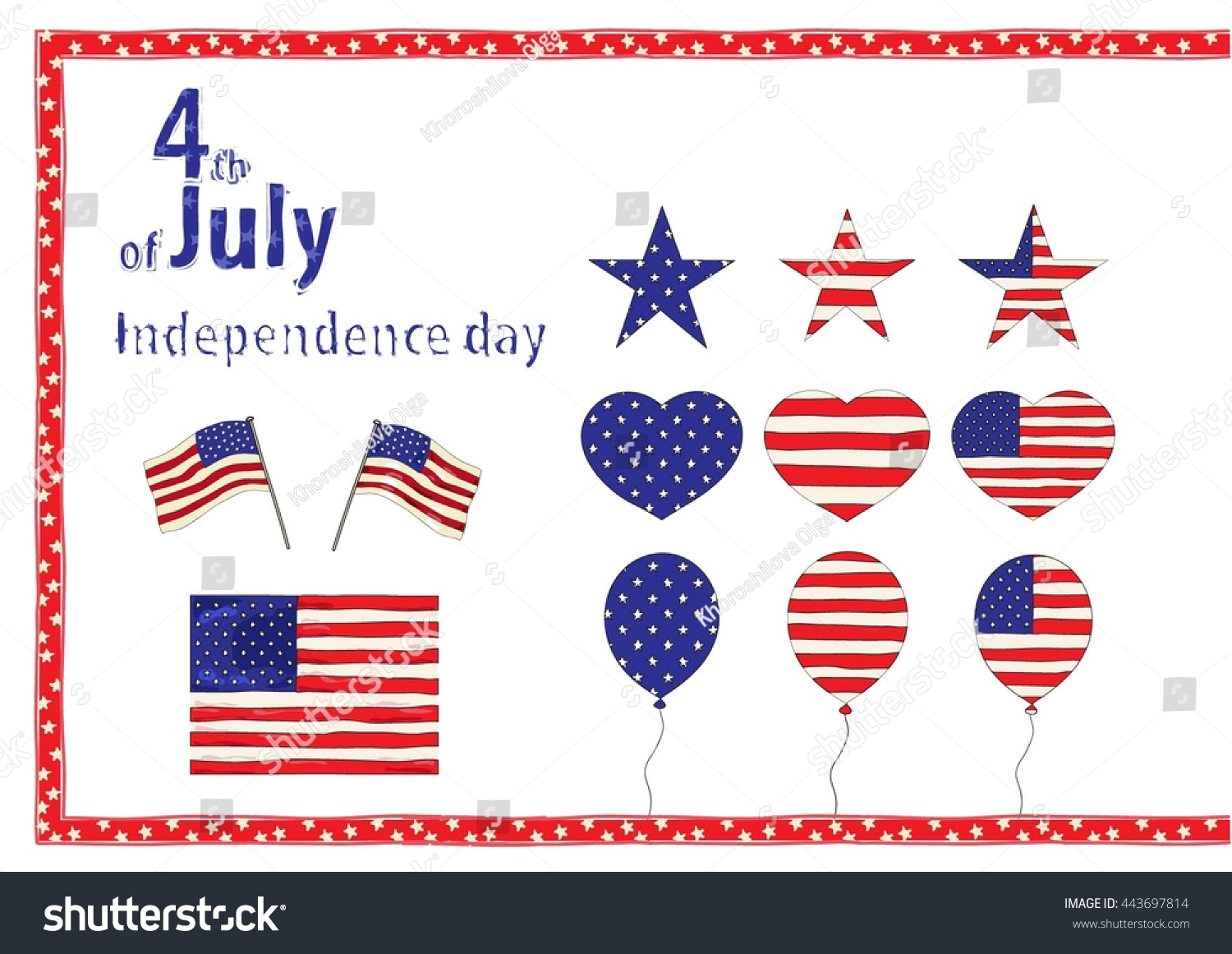 Vector elements independence day usa symbols stock vector vector elements for independence day of the usa symbols of the usa independence day and biocorpaavc