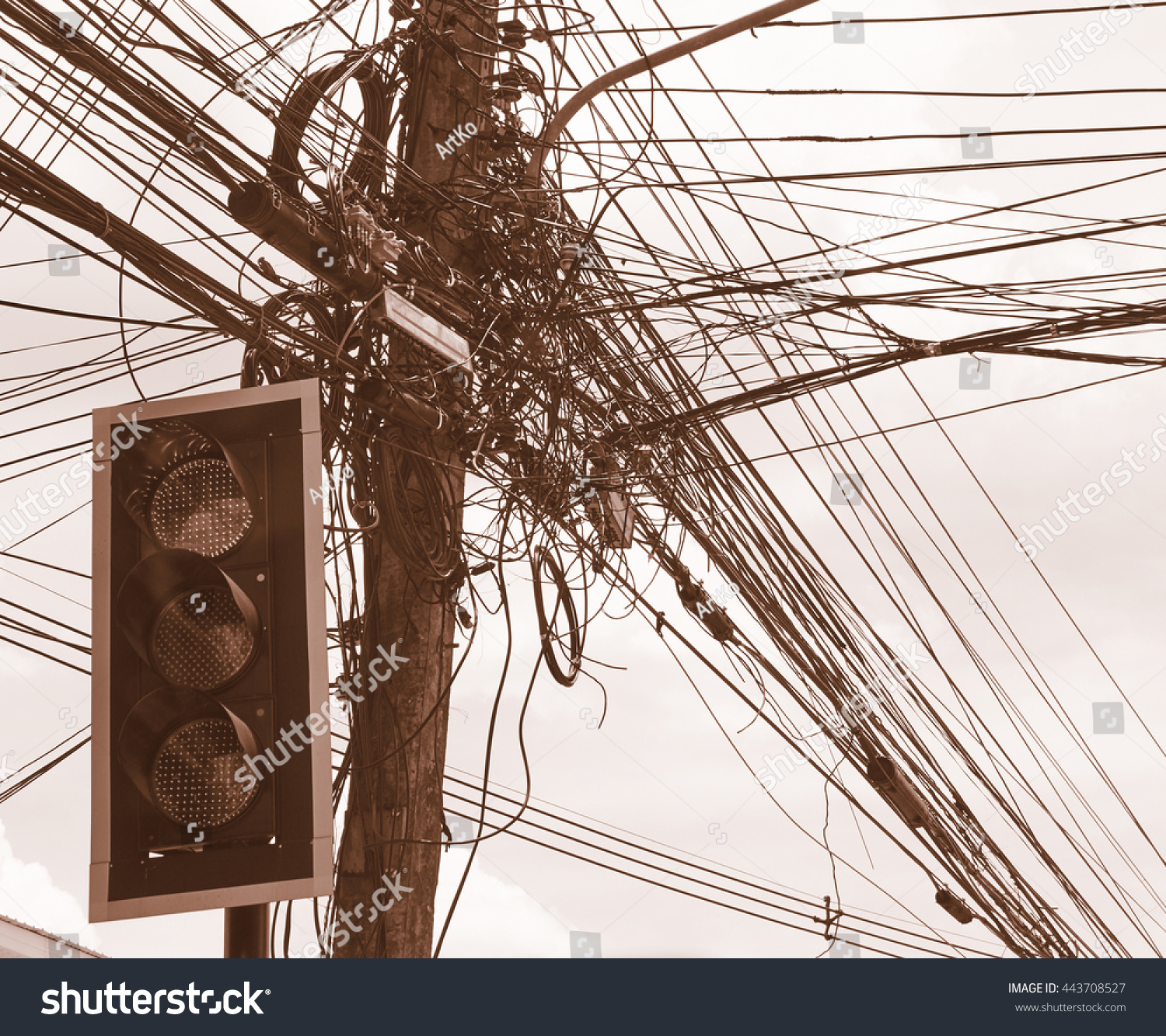 Ship Electrical Wiring And Light Royalty Free Stock Photos Image Messy Tangled Cables 443708527