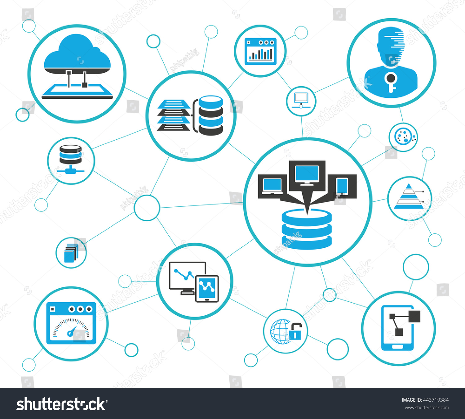 Analytics Data Icons Network Diagram On Stock Vector (Royalty Free ...