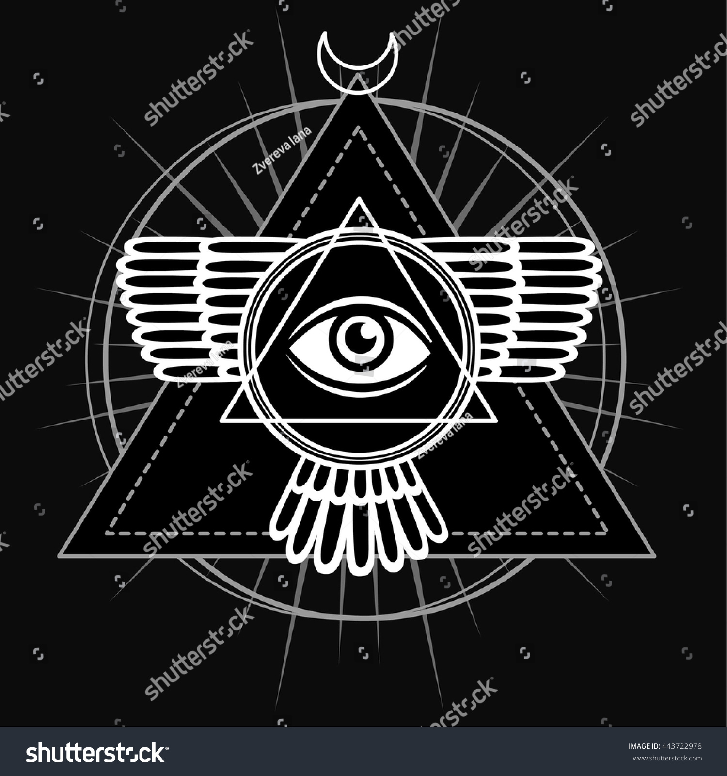 Esoteric symbol winged pyramid knowledge eye stock vector esoteric symbol winged pyramid knowledge eye sacred geometry the monochrome drawing isolated biocorpaavc Image collections