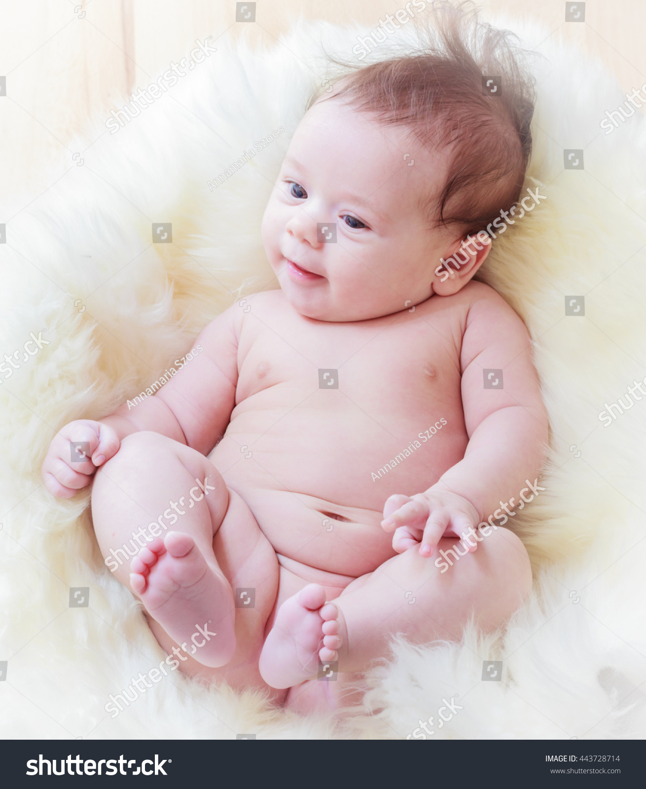 happy naked babycute naked baby girl stock photo (royalty free