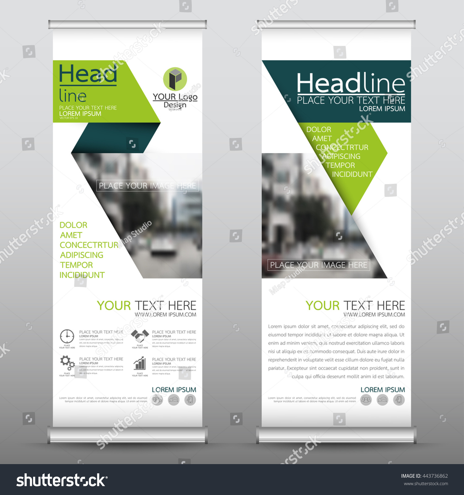 Green roll up business brochure flyer banner design vertical template - Green Roll Up Business Brochure Flyer Banner Design Template Vector Leaflet Cover Presentation Abstract Geometric