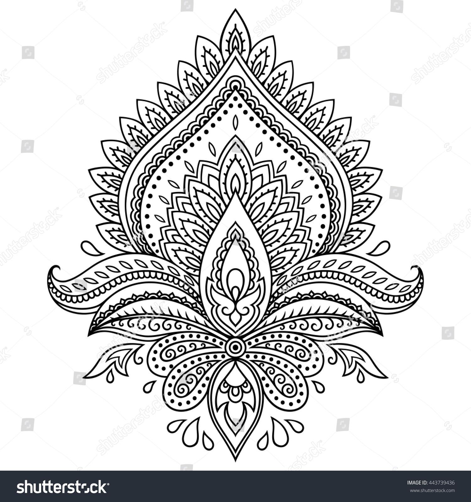 Royalty Free Mehndi Lotus Flower Pattern For Henna 443739436 Stock
