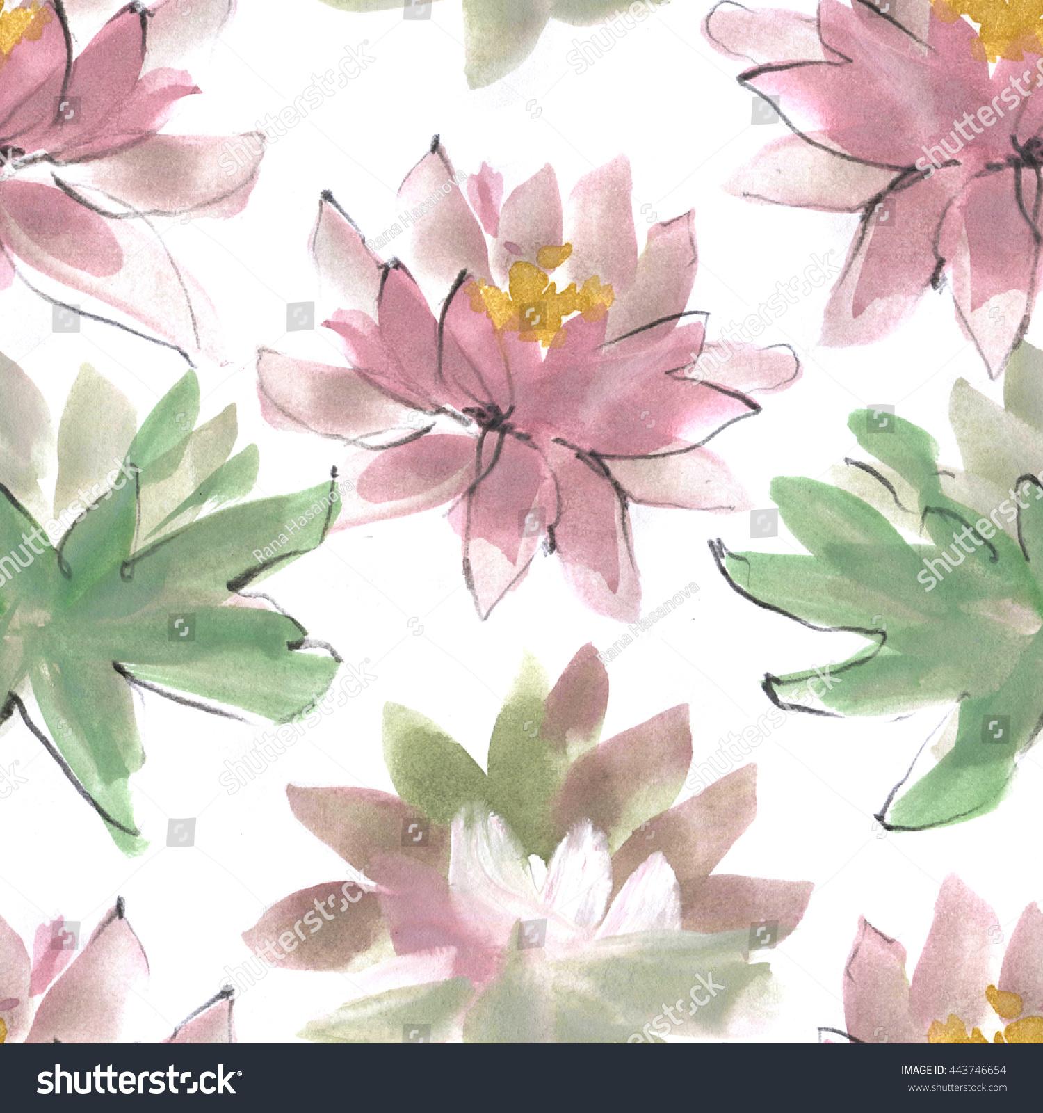 Watercolor lotus flower seamless pattern hand stock illustration watercolor lotus flower seamless pattern hand drawn nature illustration chinese ink wash painting izmirmasajfo