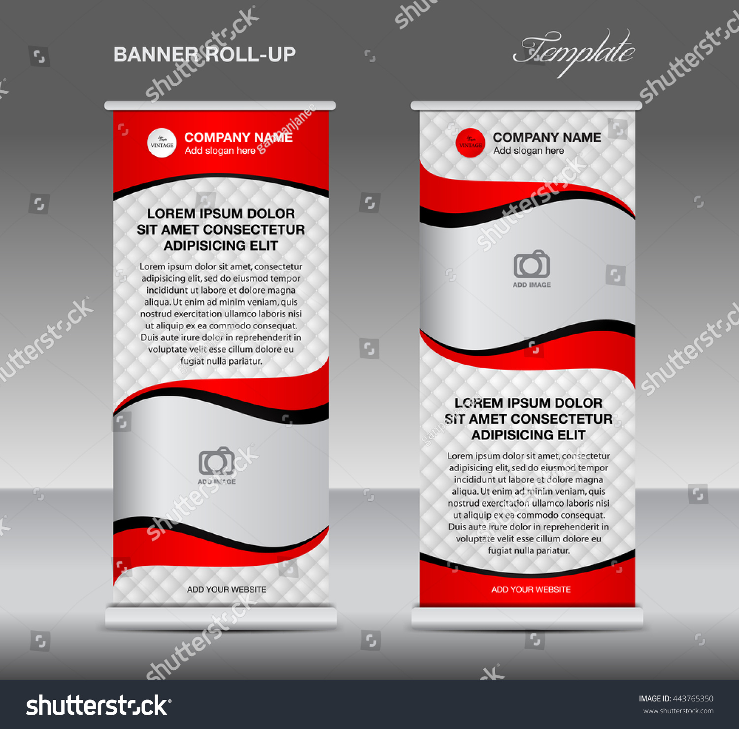 red roll up banner stand template vintage corporate design flyer red roll up banner stand template vintage corporate design flyer vector advertisement display