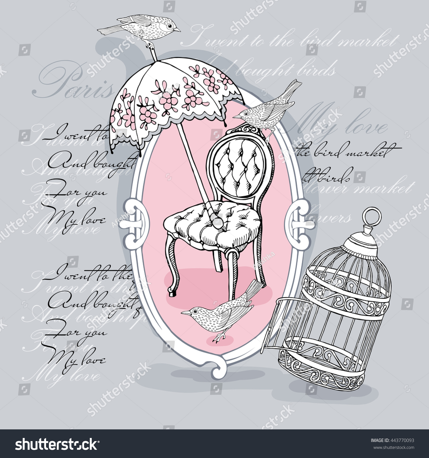 Romantic card with image of a vintage chair birds cage and umbrella on gray background Vector illustration