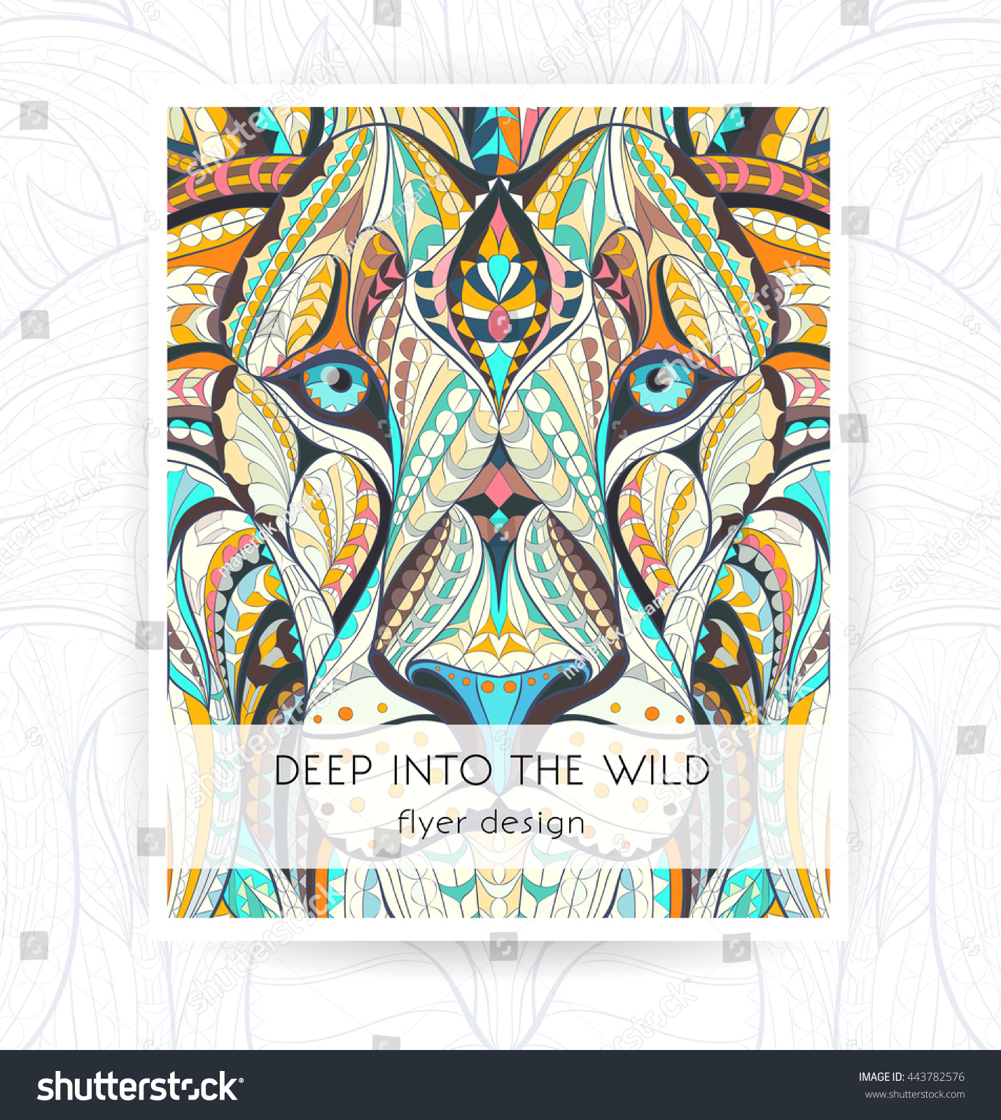 flyer template patterned head lion african stock vector royalty