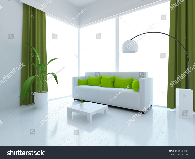 White Room Sofa Green Curtains Living Stock Illustration 443784115 ...