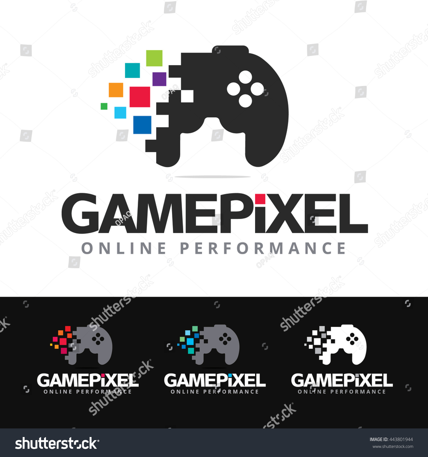 Logo Stylized Game Pad Colorful Pixels Stock Photo (Photo, Vector ...