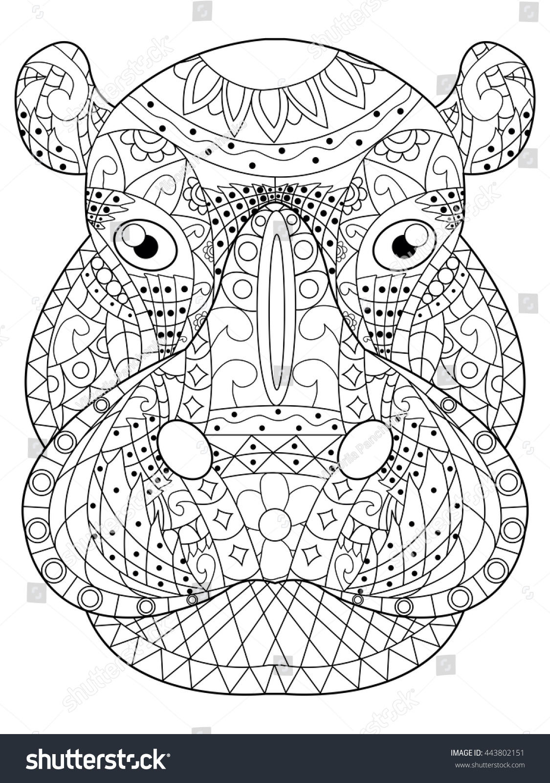 Hippopotamus Head Coloring Book For Adults Vector Illustration Anti Stress Adult